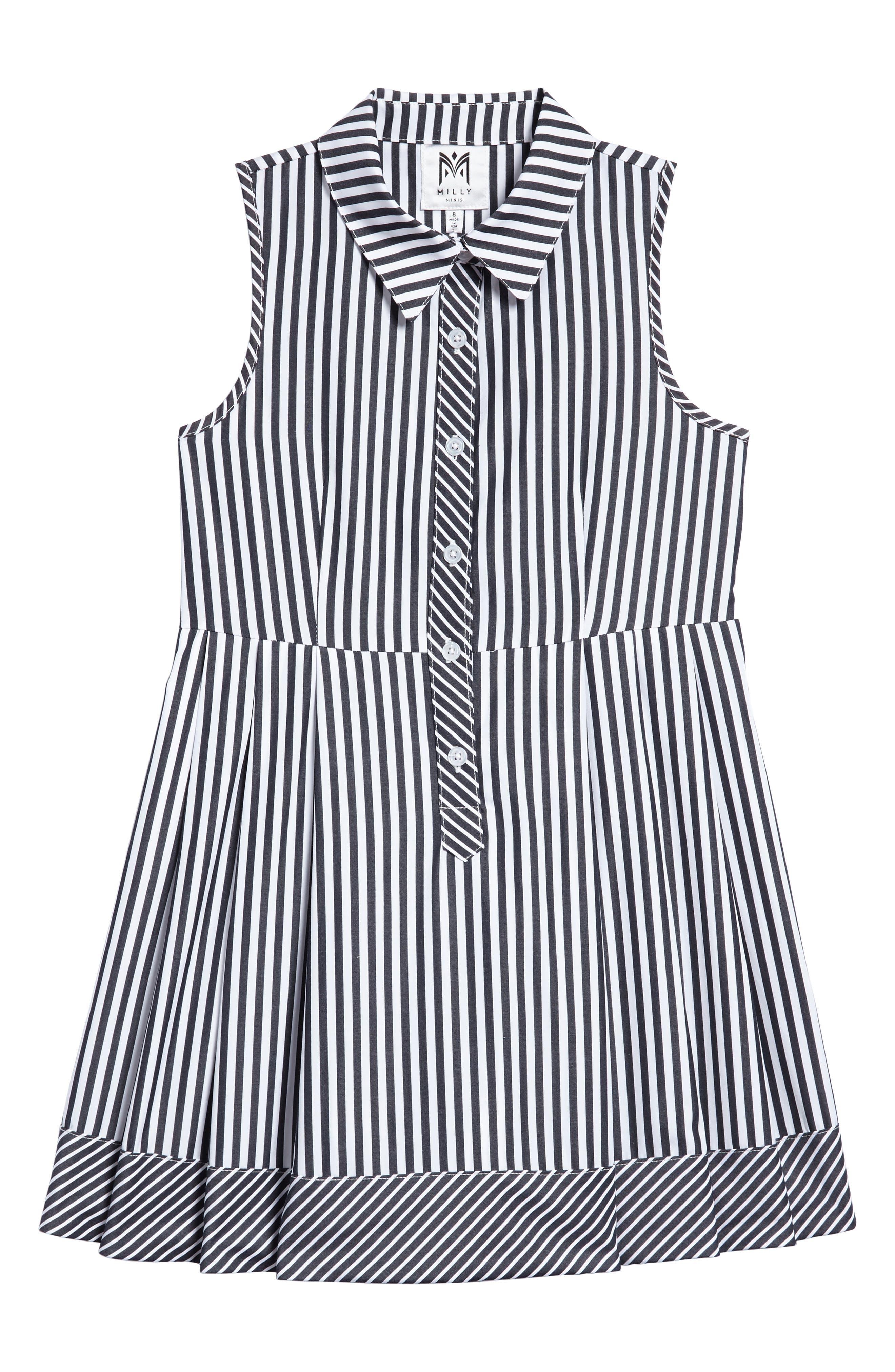 Stripe Shirtdress,                             Main thumbnail 1, color,                             Black