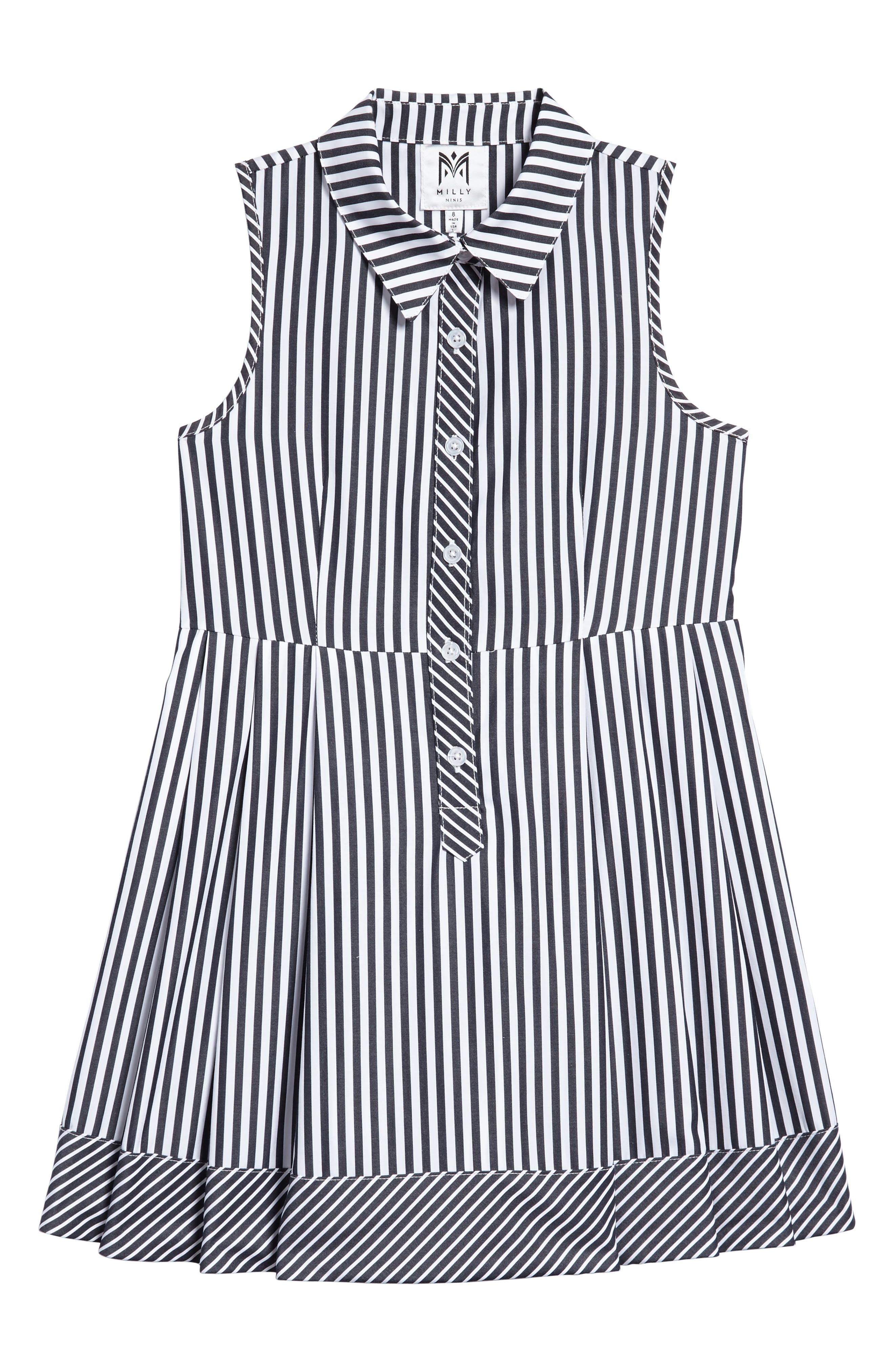 Stripe Shirtdress,                         Main,                         color, Black