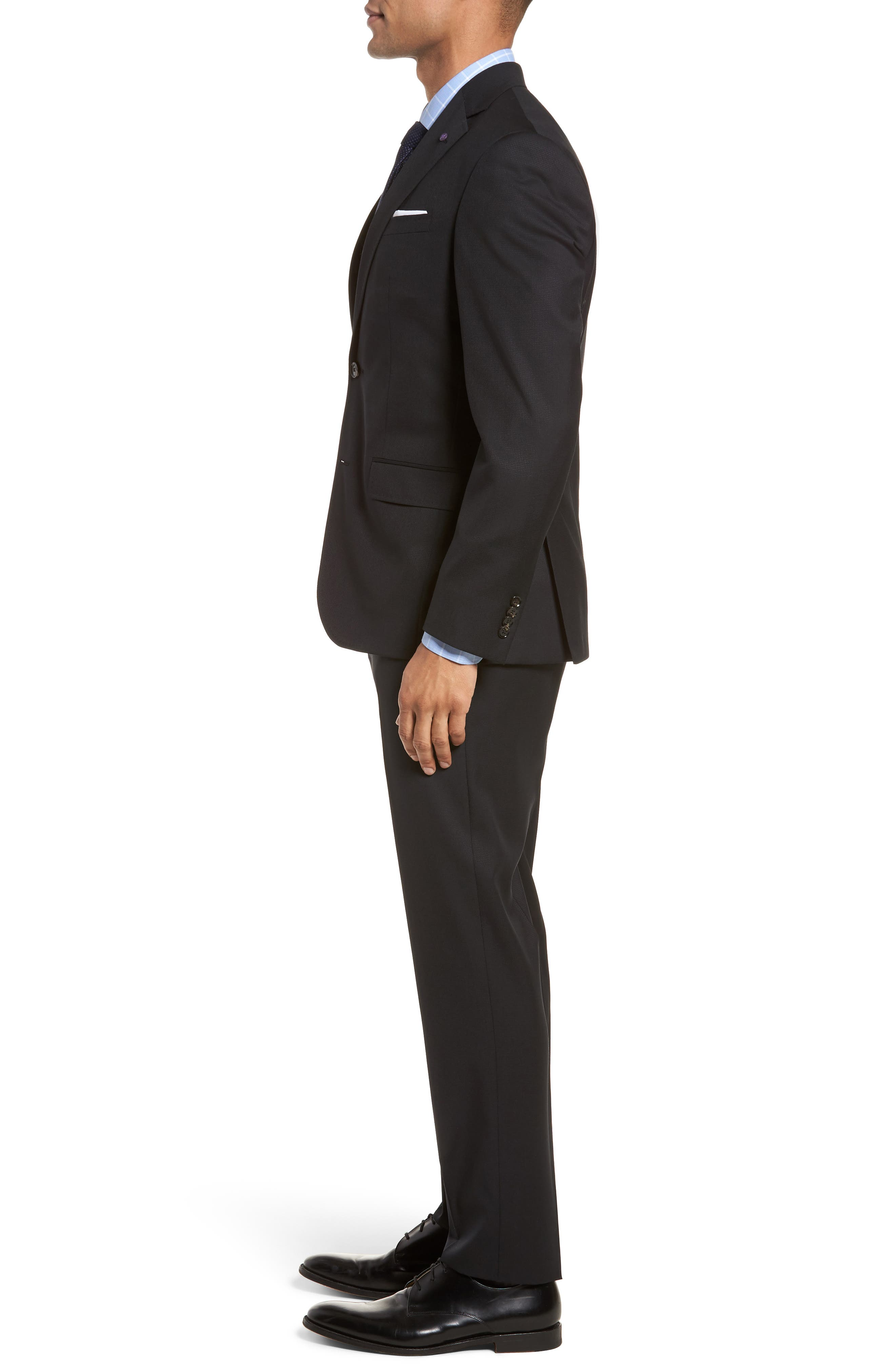 Roger Extra Slim Fit Solid Wool Suit,                             Alternate thumbnail 3, color,                             Black