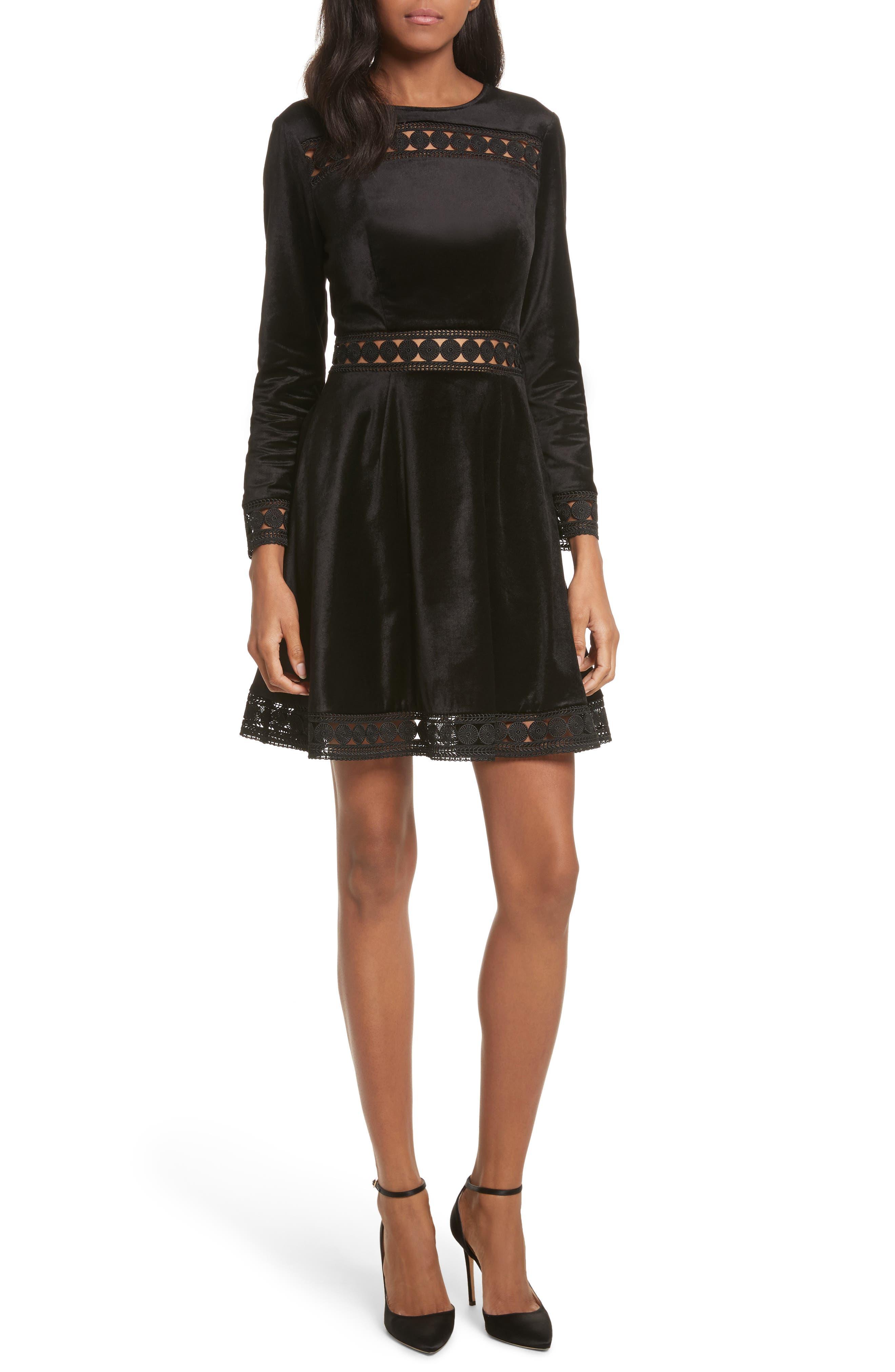 Ted Baker London Velvet & Lace Skater Dress