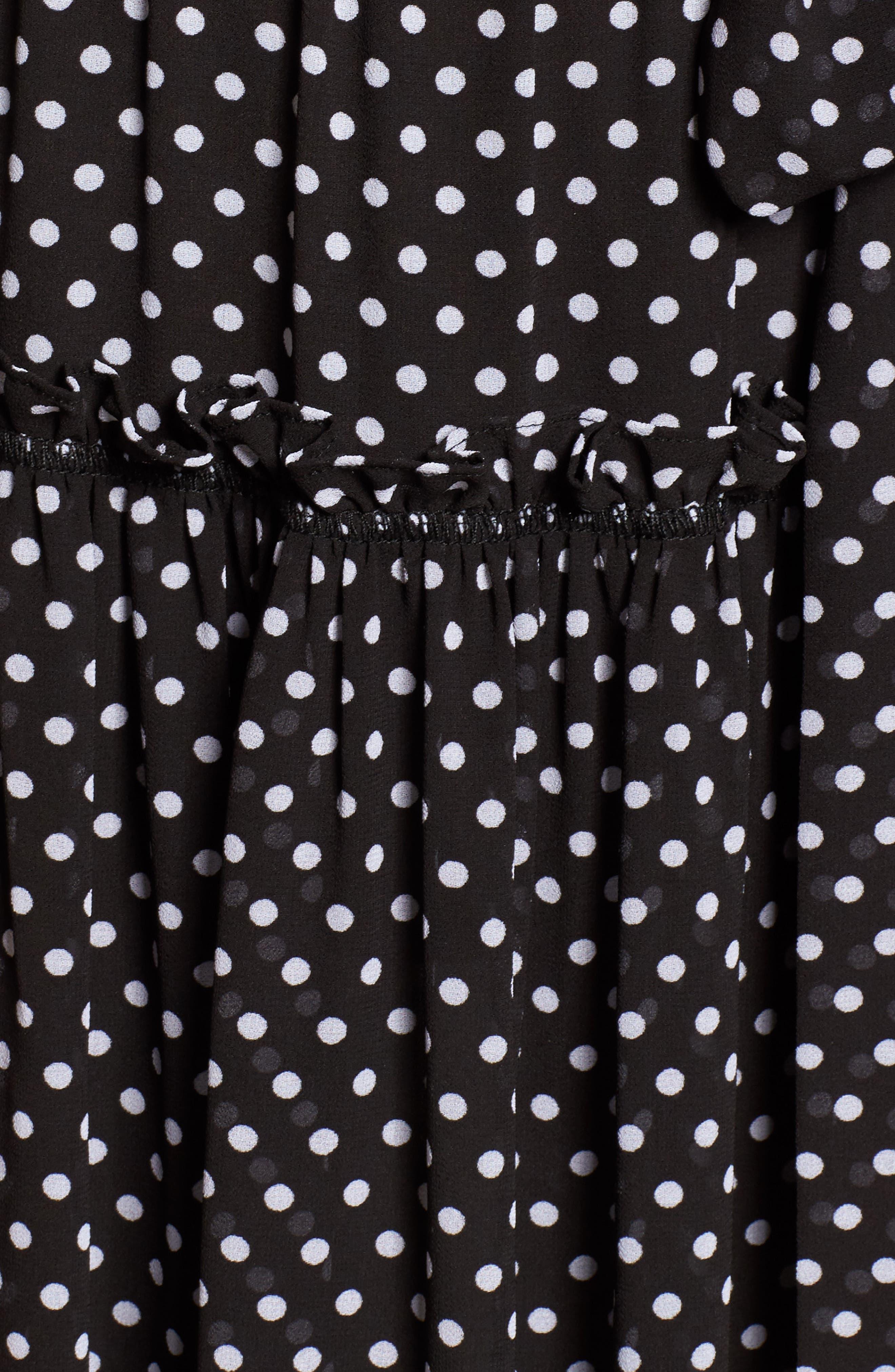 Tiered Dot Boho Dress,                             Alternate thumbnail 5, color,                             Black/ White