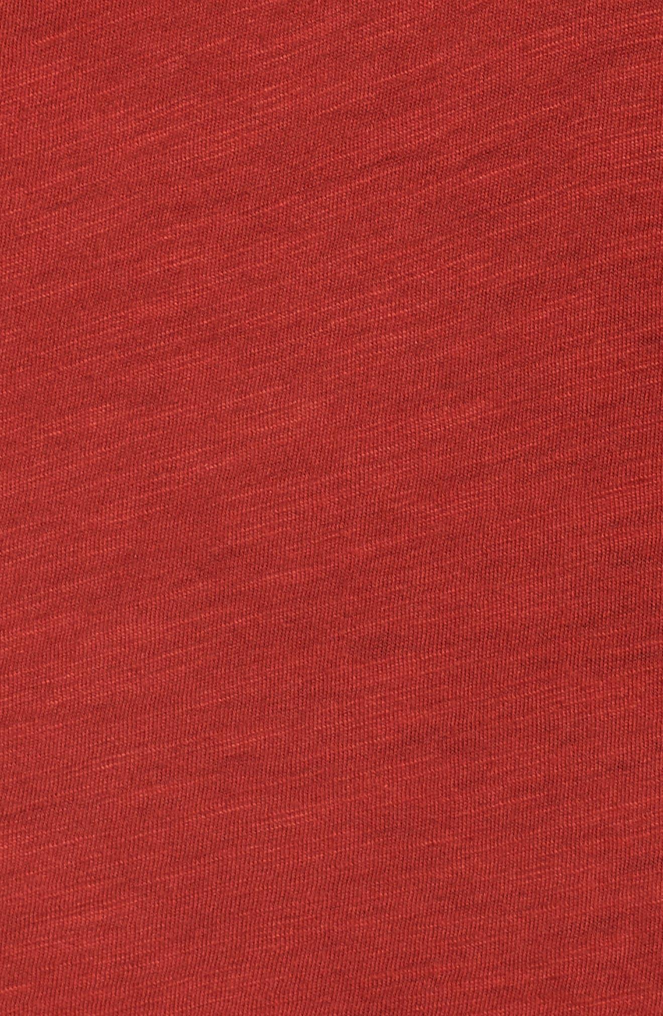 Embroidered Tie Shoulder Cold Shoulder Top,                             Alternate thumbnail 5, color,                             Heirloom Red