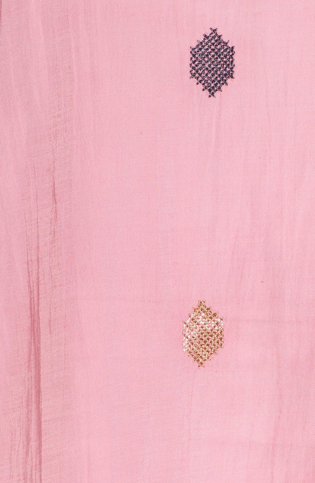 Metallic Embroidered Top,                             Alternate thumbnail 5, color,                             Flamingo Pink