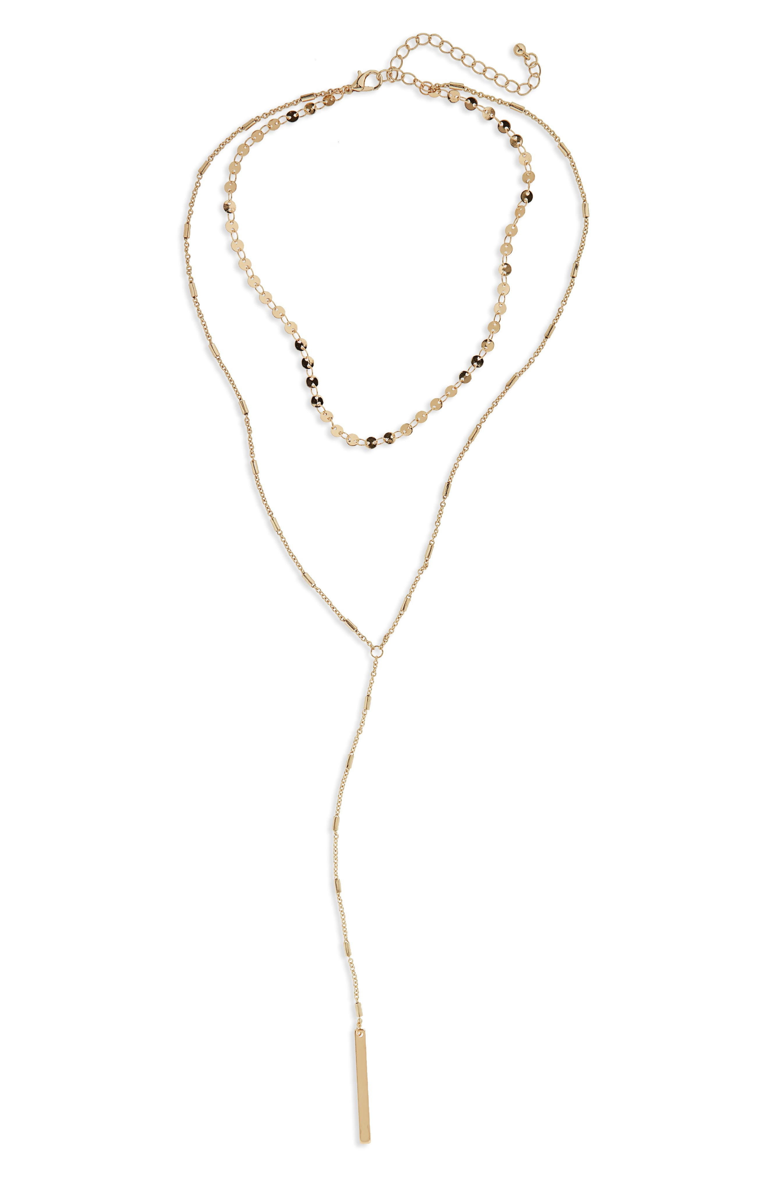 Layered Y-Necklace,                         Main,                         color, Gold
