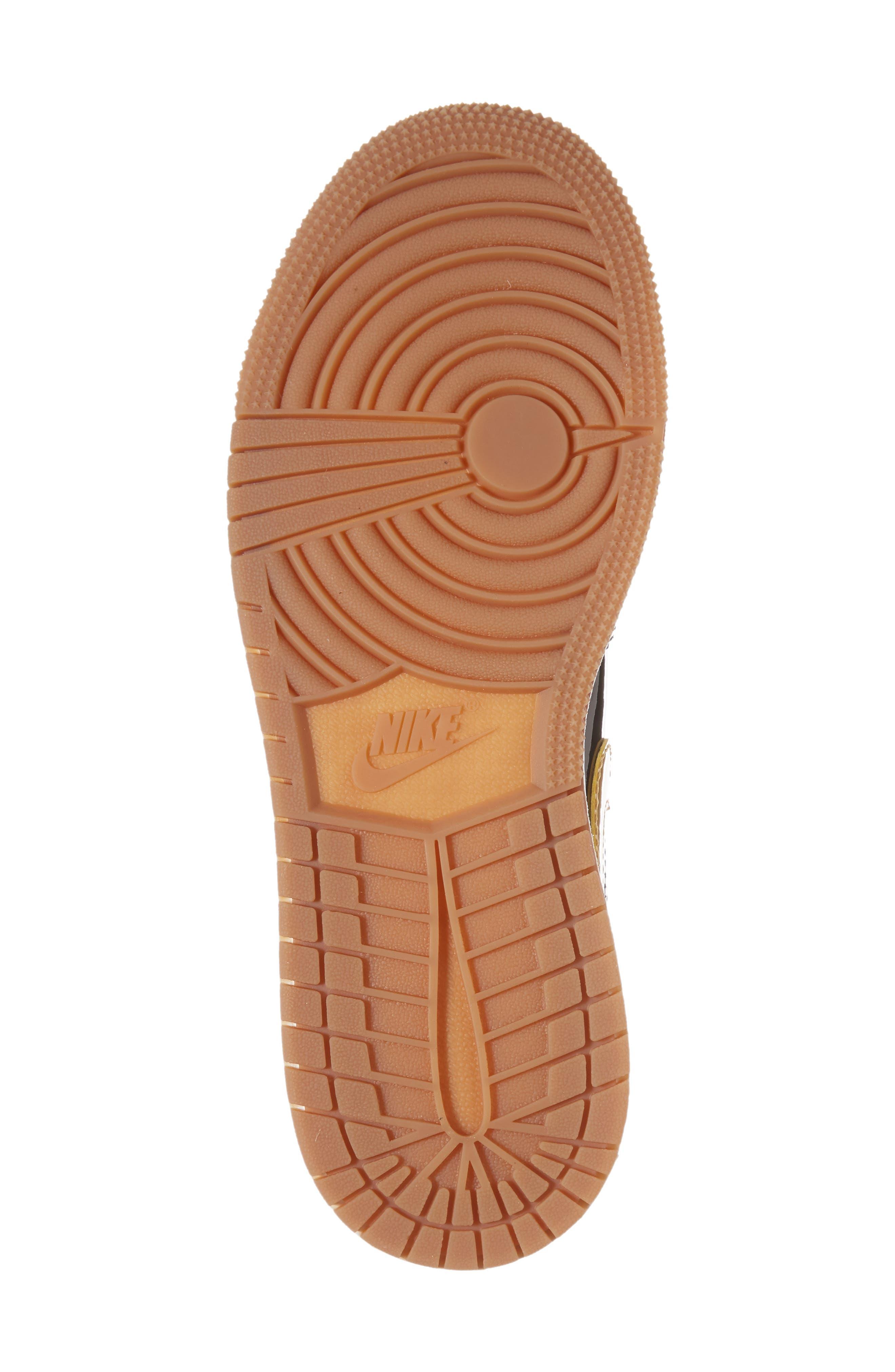 Nike 'Jordan 1 Low' Basketball Shoe,                             Alternate thumbnail 6, color,                             Black/ Metallic Gold/ White