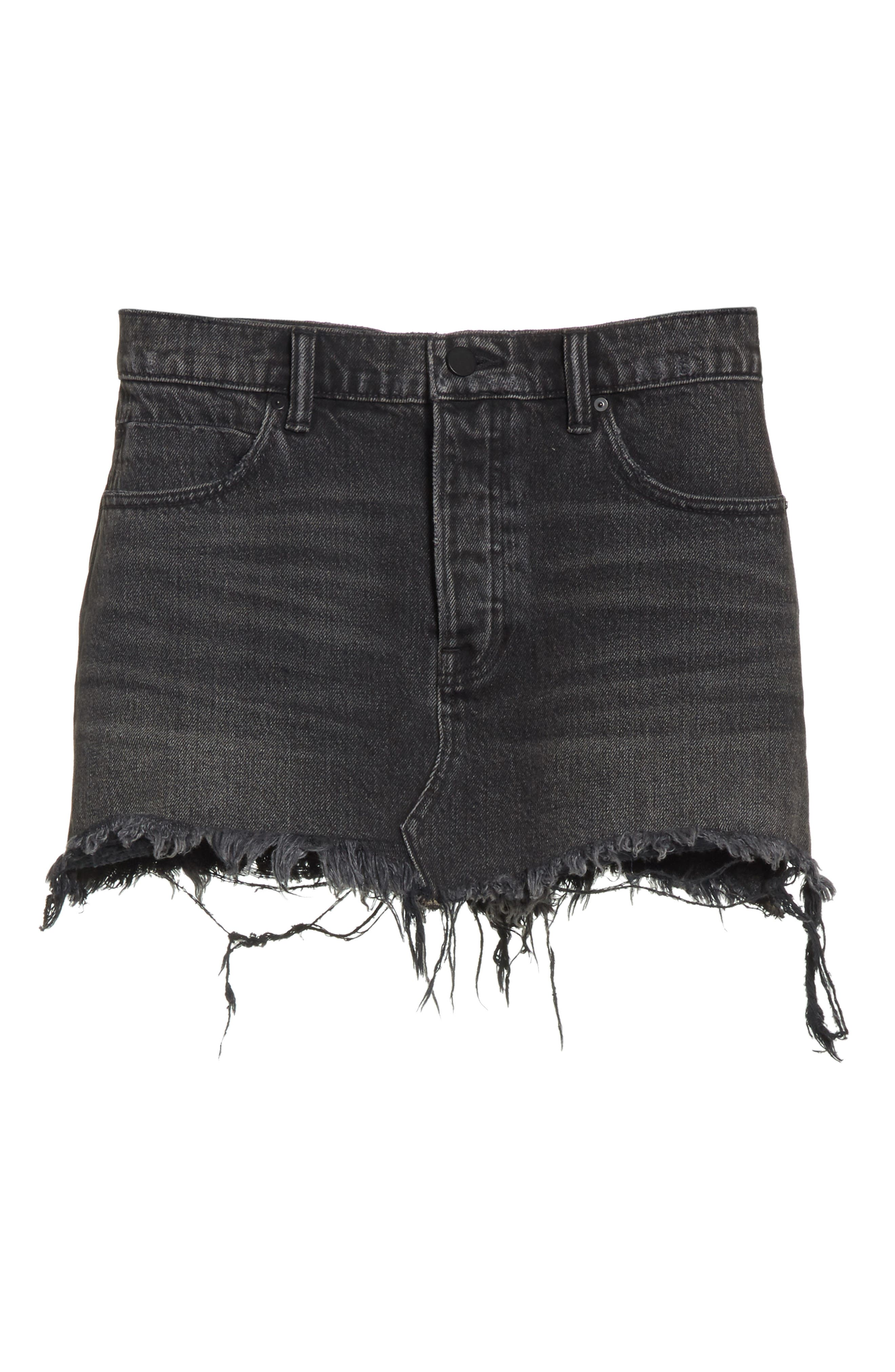 Alternate Image 6  - T by Alexander Wang Destroyed Hem Denim Skirt