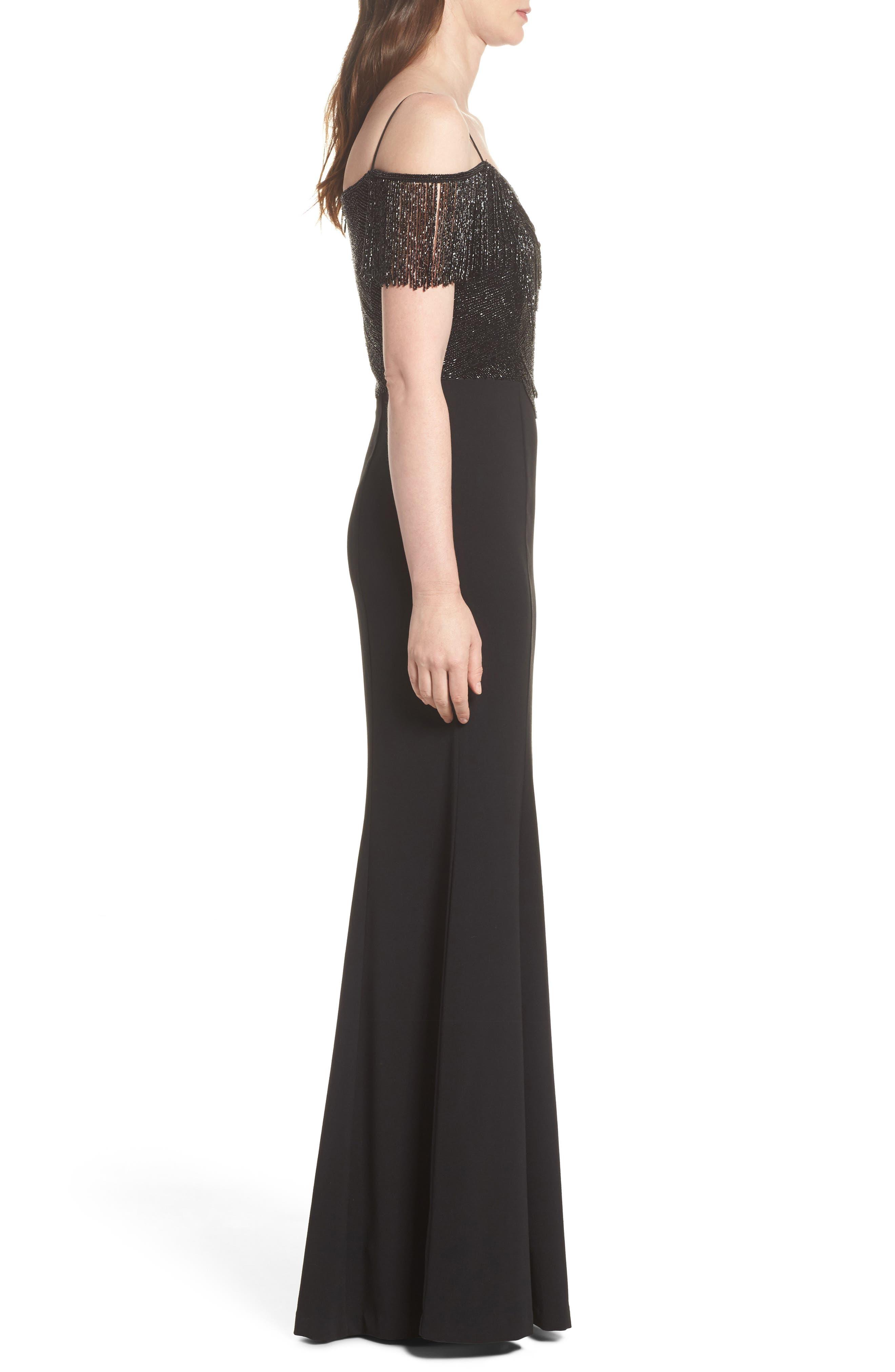 Fringe Cold Shoulder Crepe Gown,                             Alternate thumbnail 3, color,                             Black