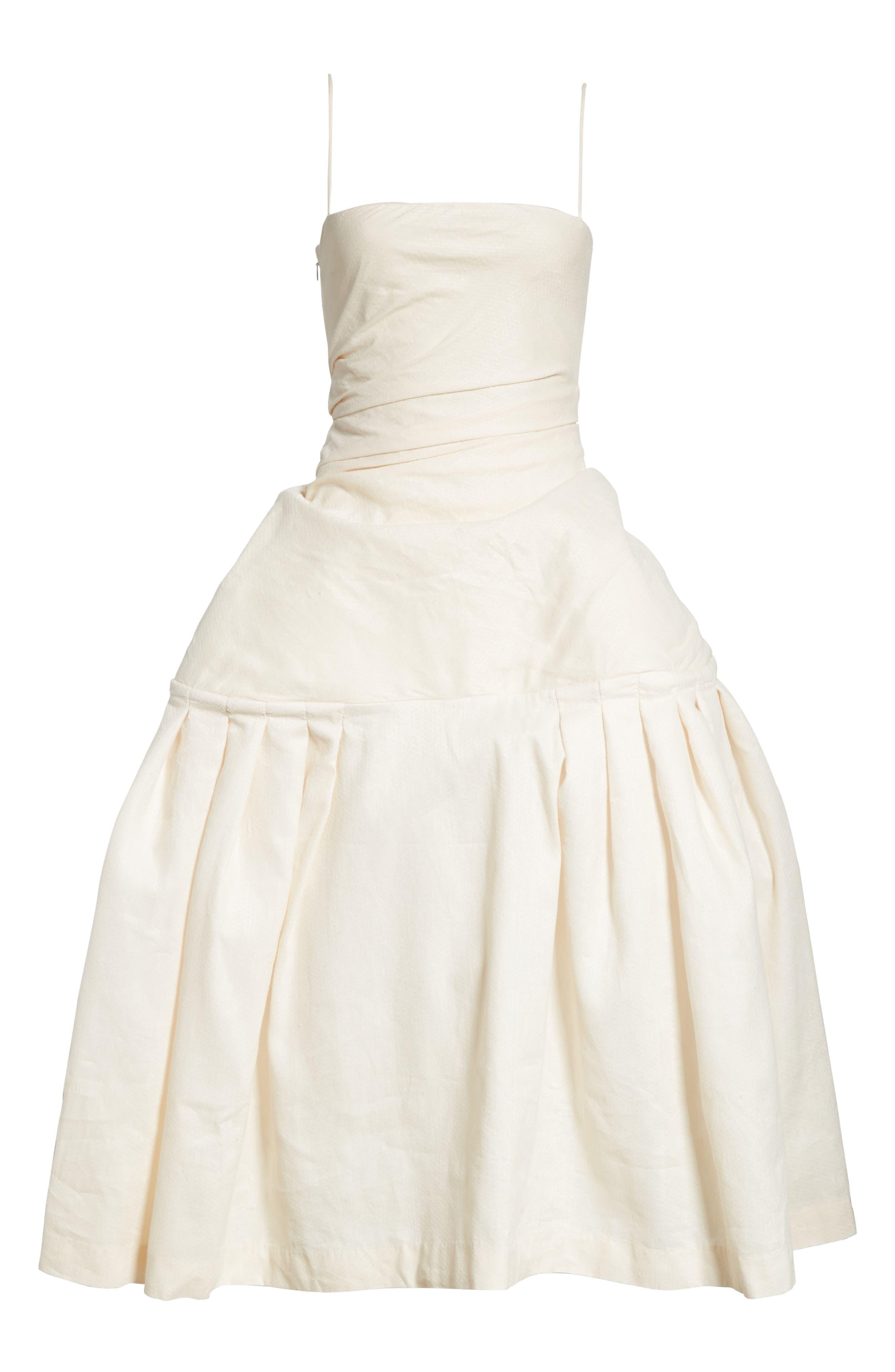 La Robe Limao Linen & Cotton Trumpet Dress,                             Alternate thumbnail 7, color,                             Beige