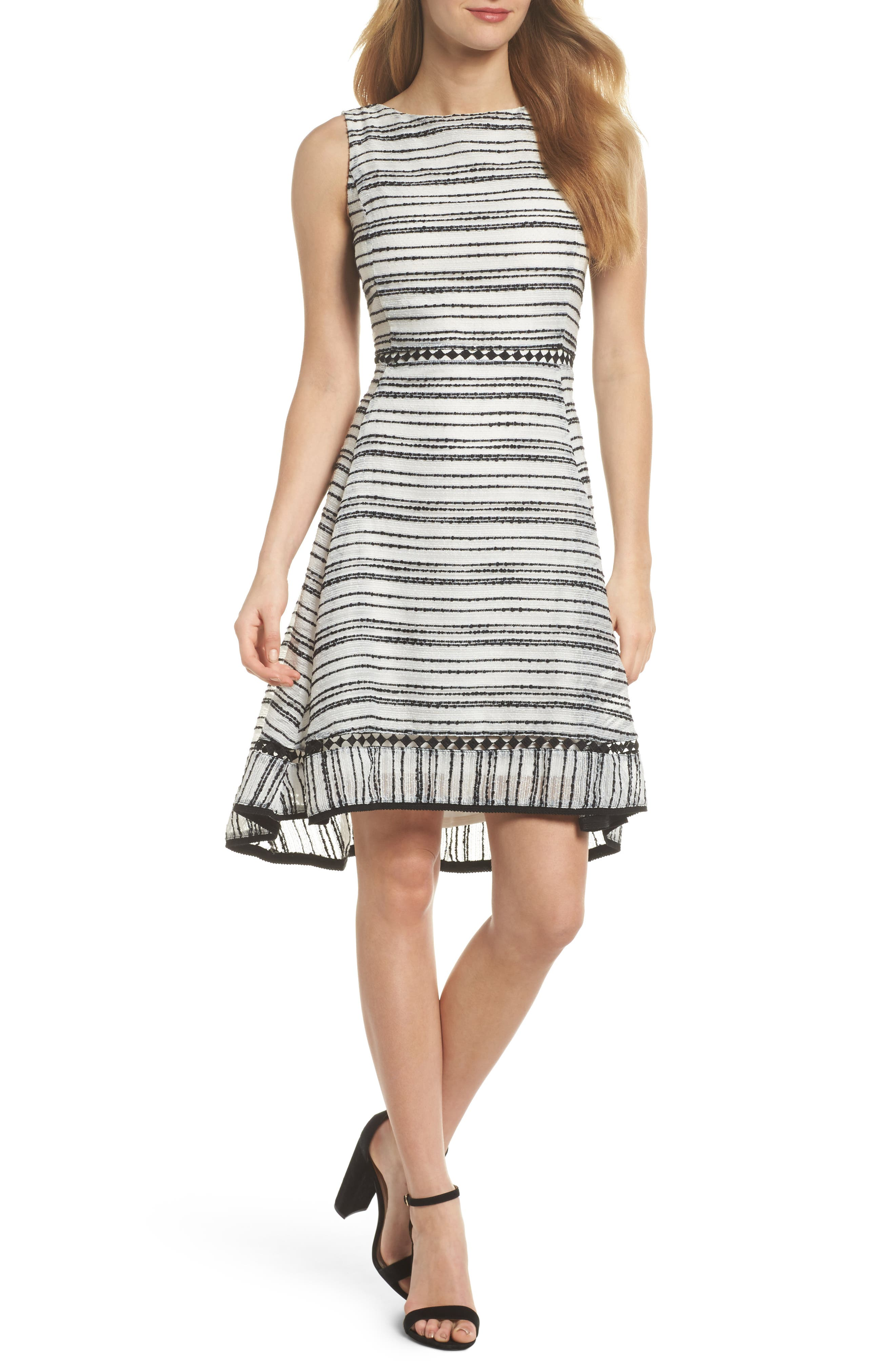 Taylor Dresses Stripe Fit & Flare Dress