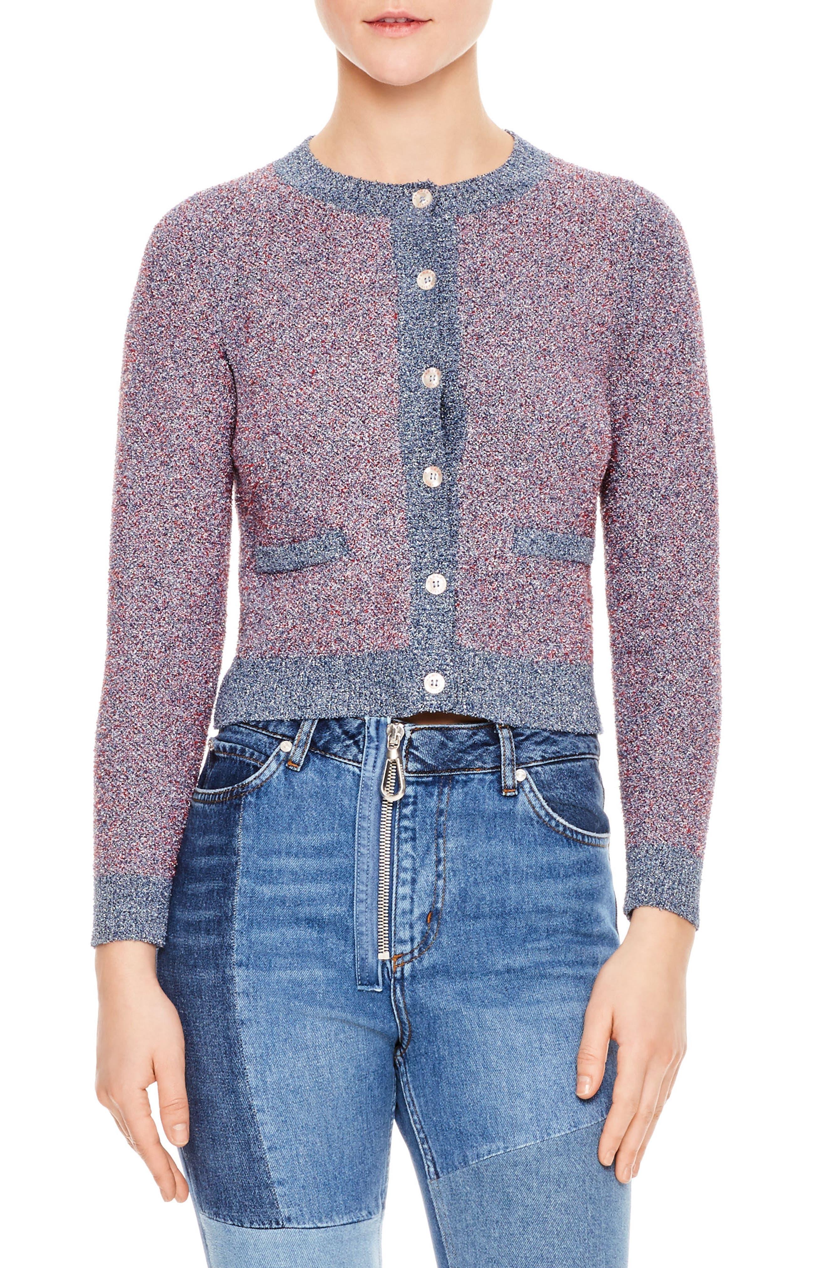 Violet Cotton Blend Cardigan,                             Main thumbnail 1, color,                             Purple