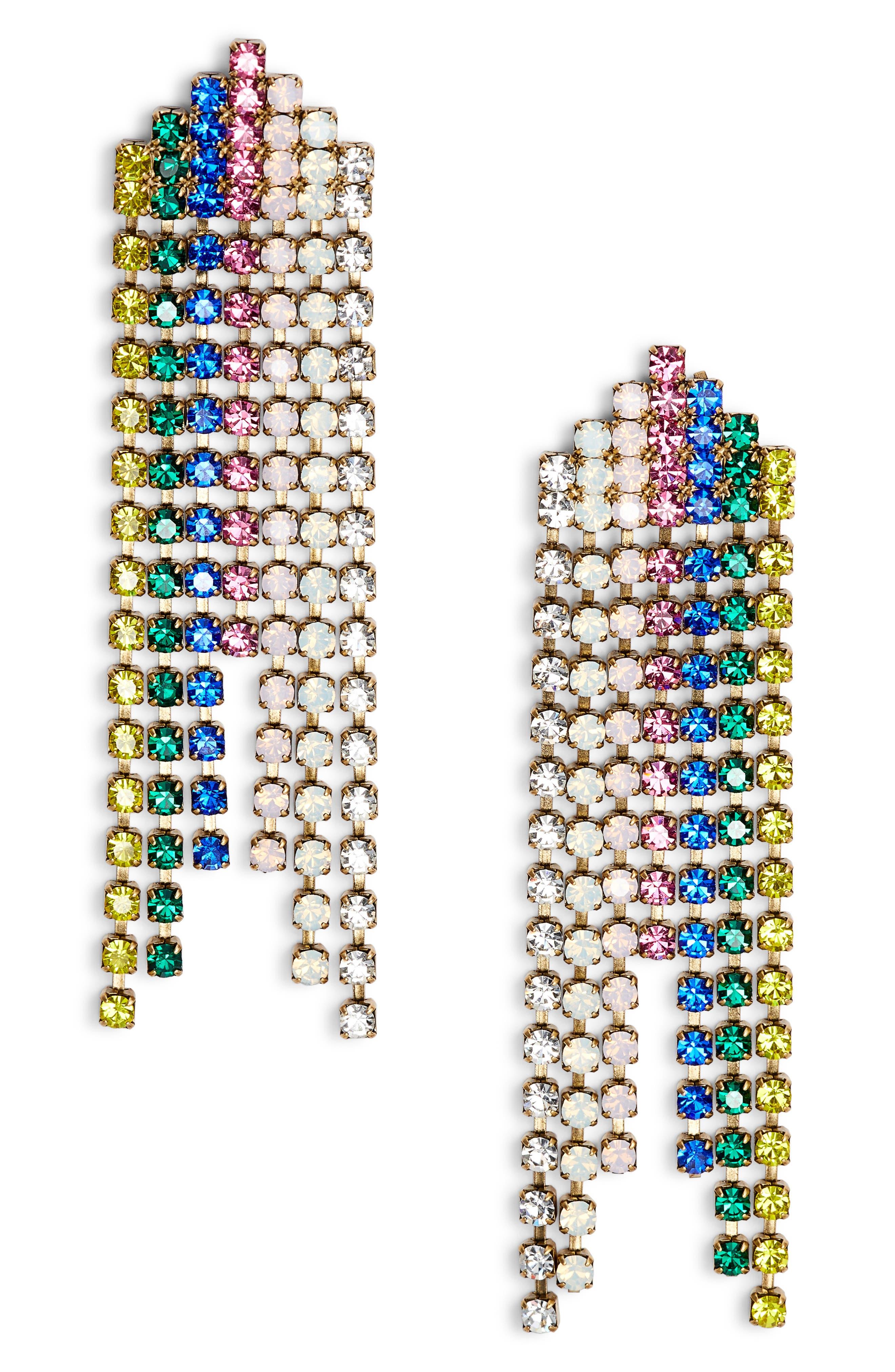 Marissa Crystal Drop Earrings,                         Main,                         color, Spring Multi