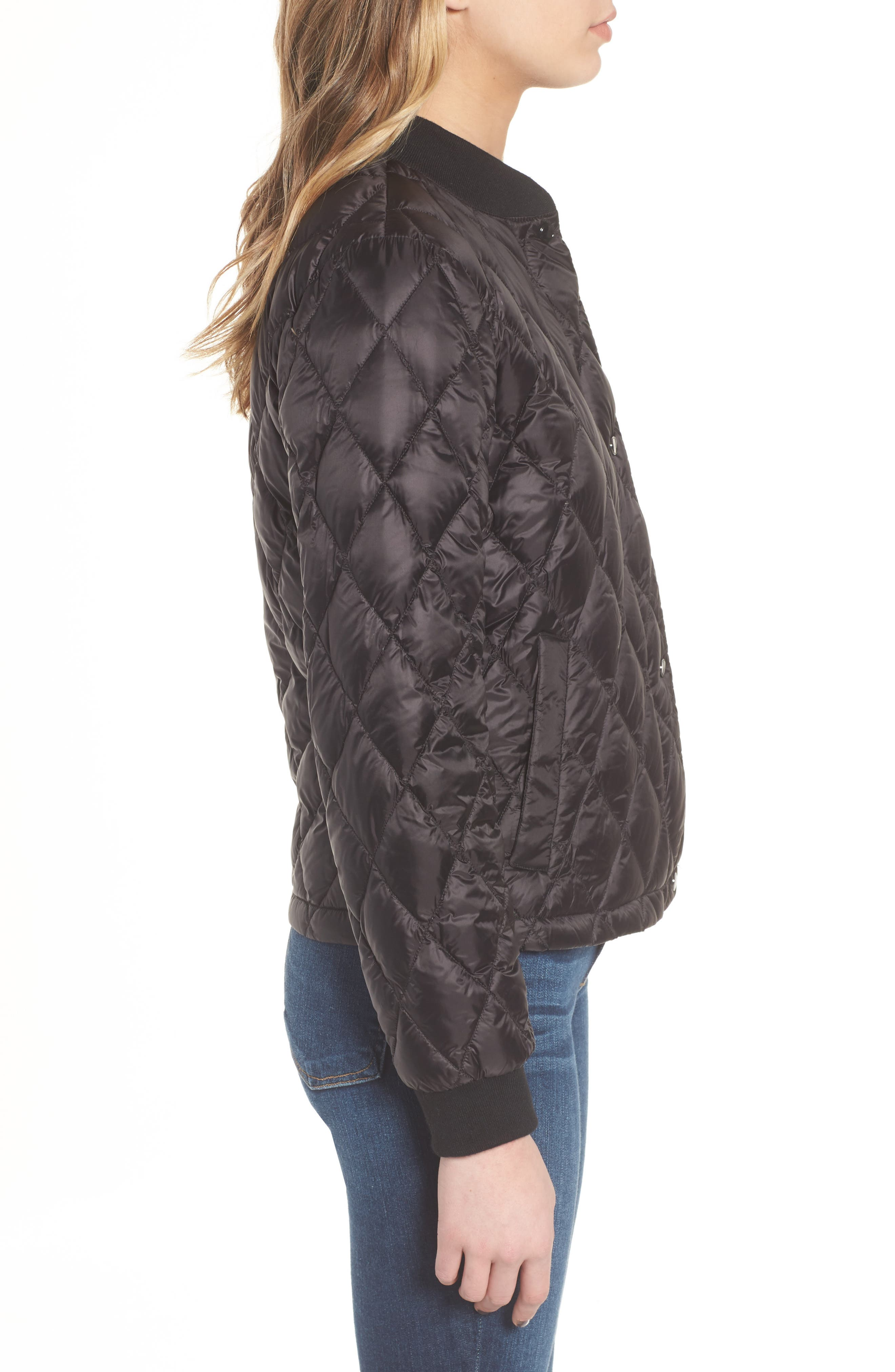 Quilted Down Bomber Jacket,                             Alternate thumbnail 3, color,                             Black