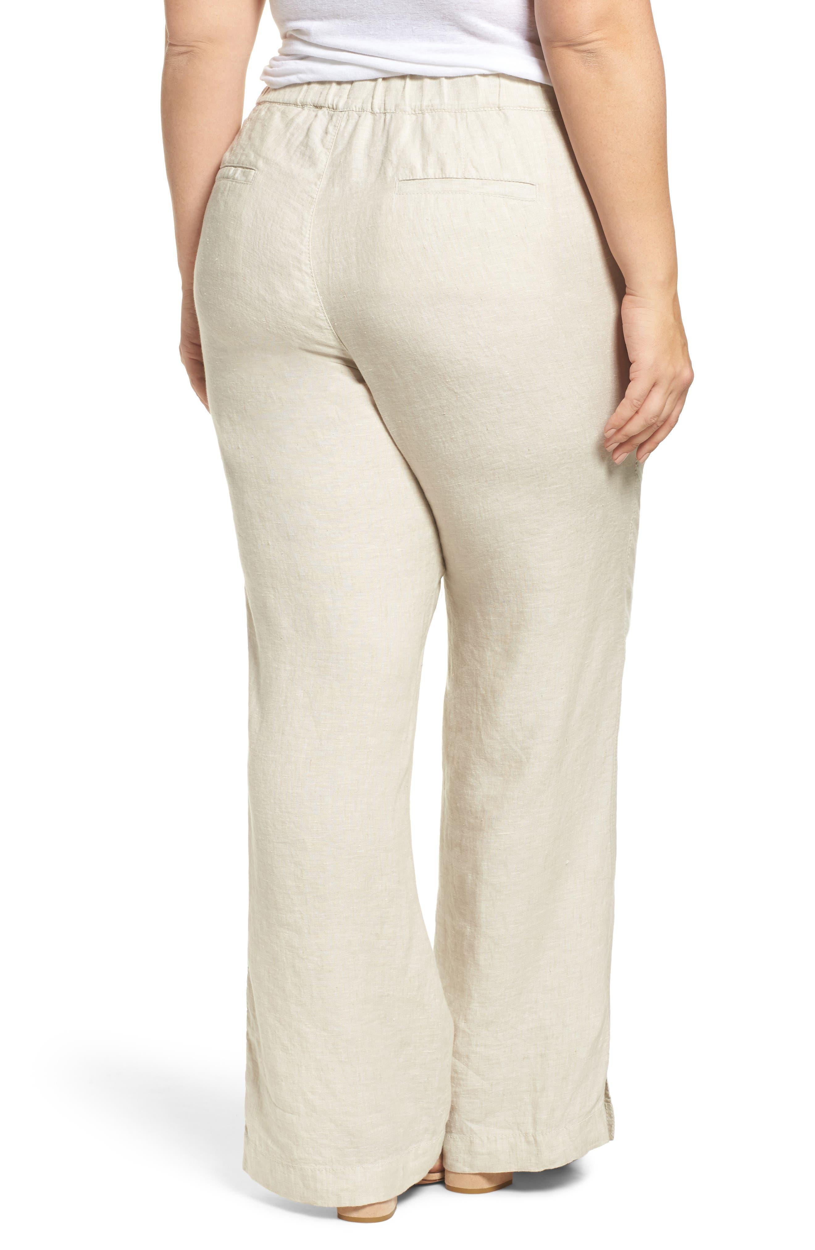 Linen Track Pants,                             Alternate thumbnail 2, color,                             Flax