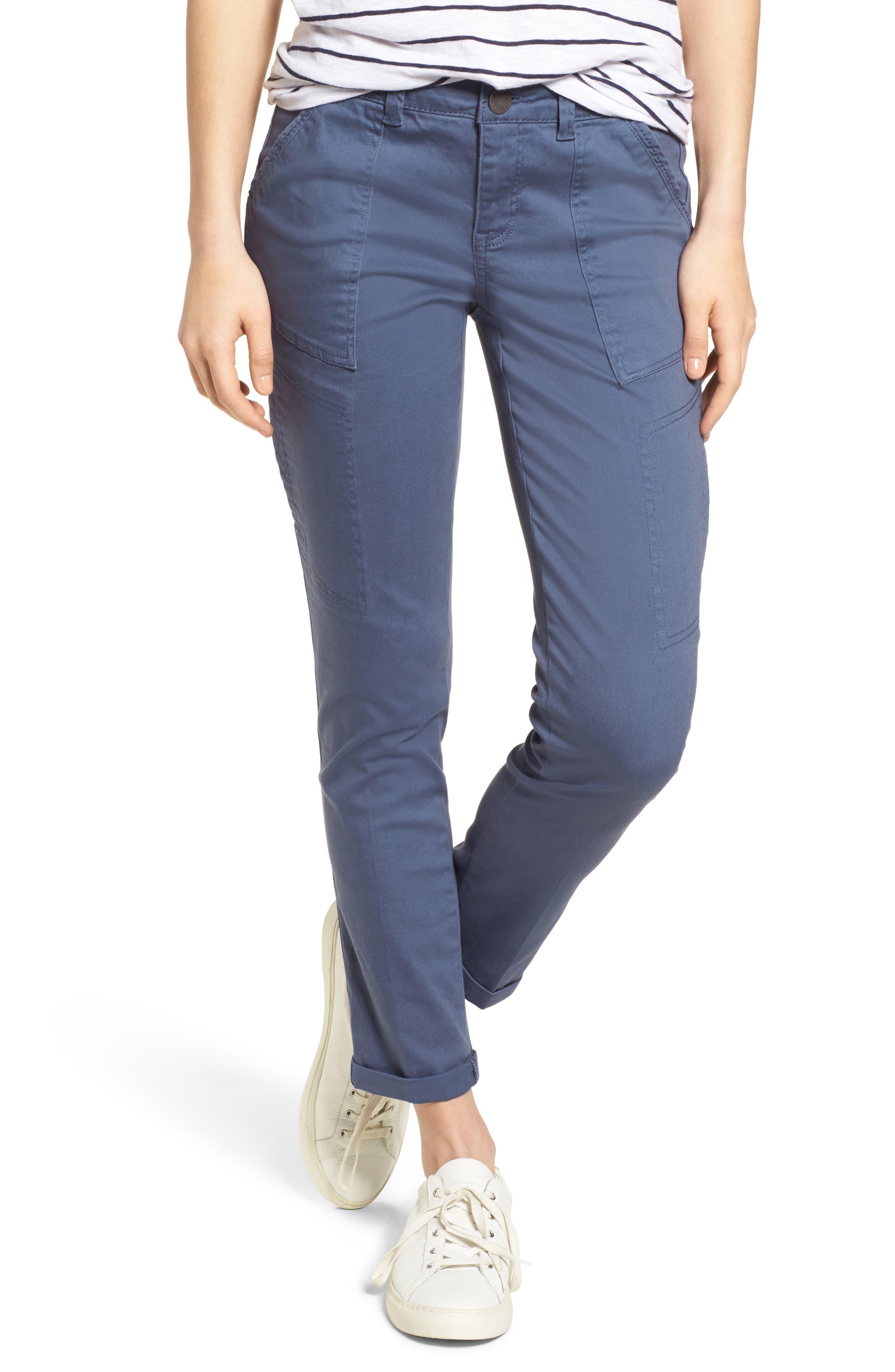 Twill Cargo Pants,                         Main,                         color, Slate Blue