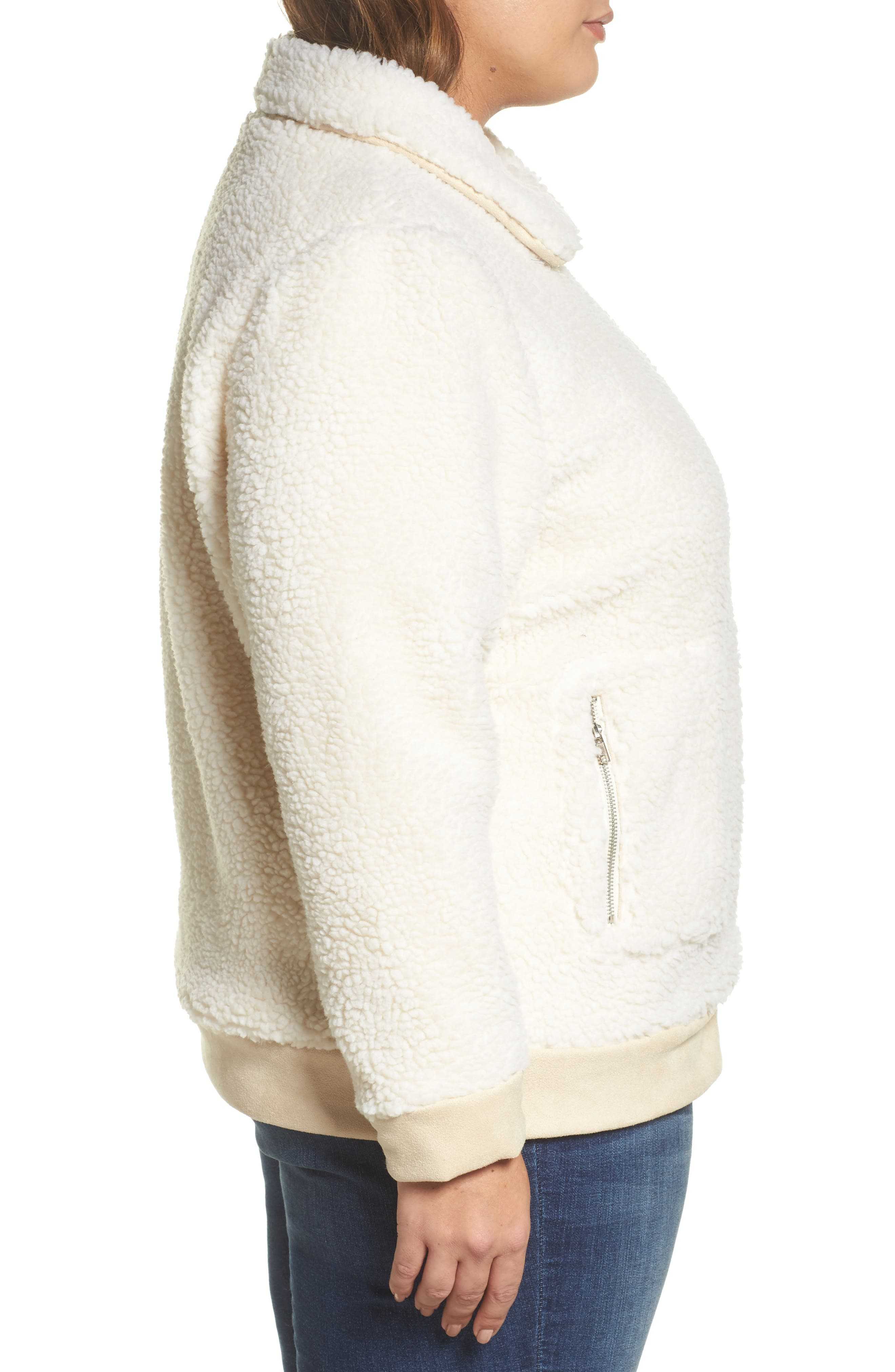 High Pile Fleece Jacket,                             Alternate thumbnail 3, color,                             Cream
