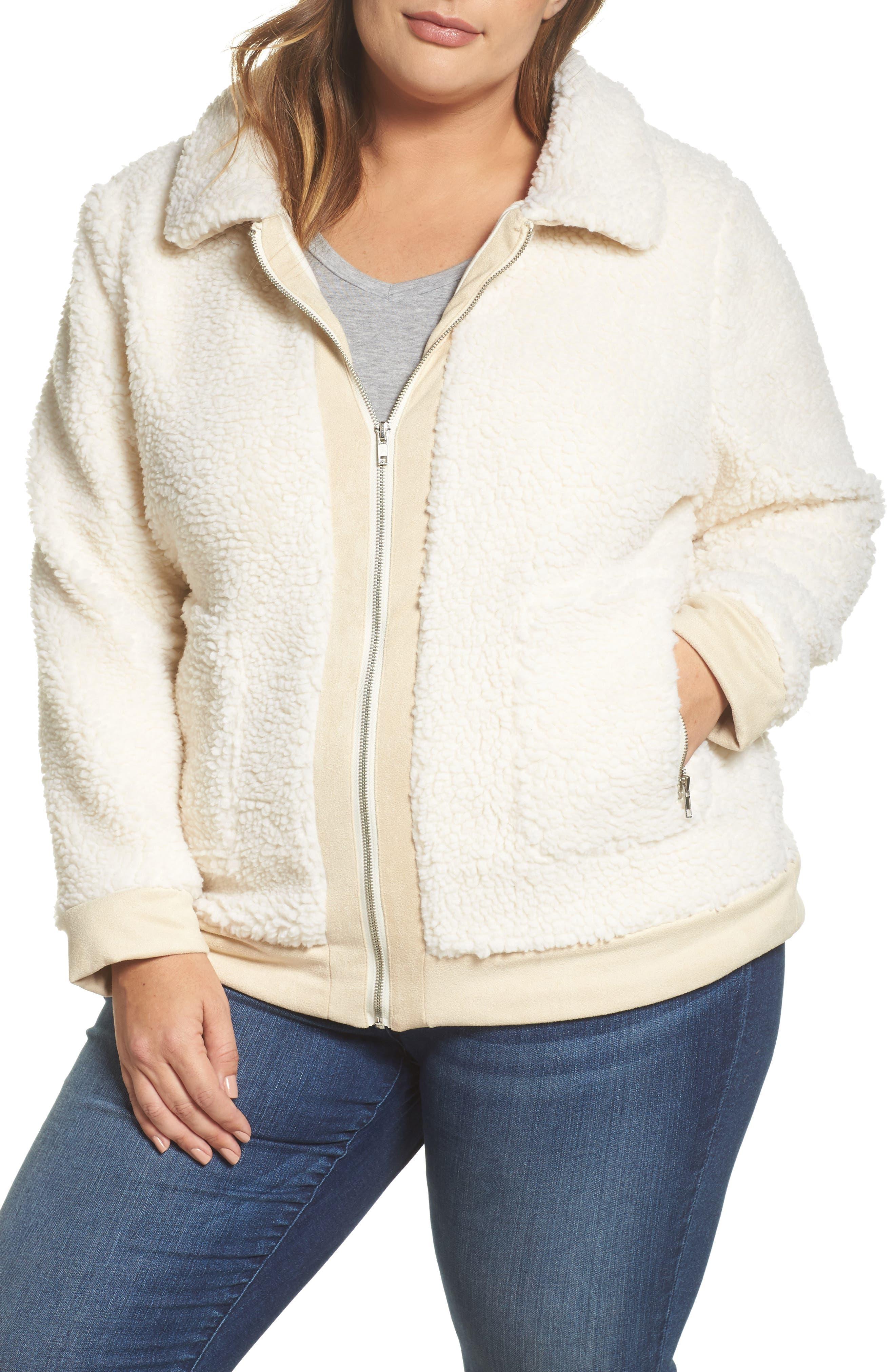 High Pile Fleece Jacket,                             Alternate thumbnail 4, color,                             Cream