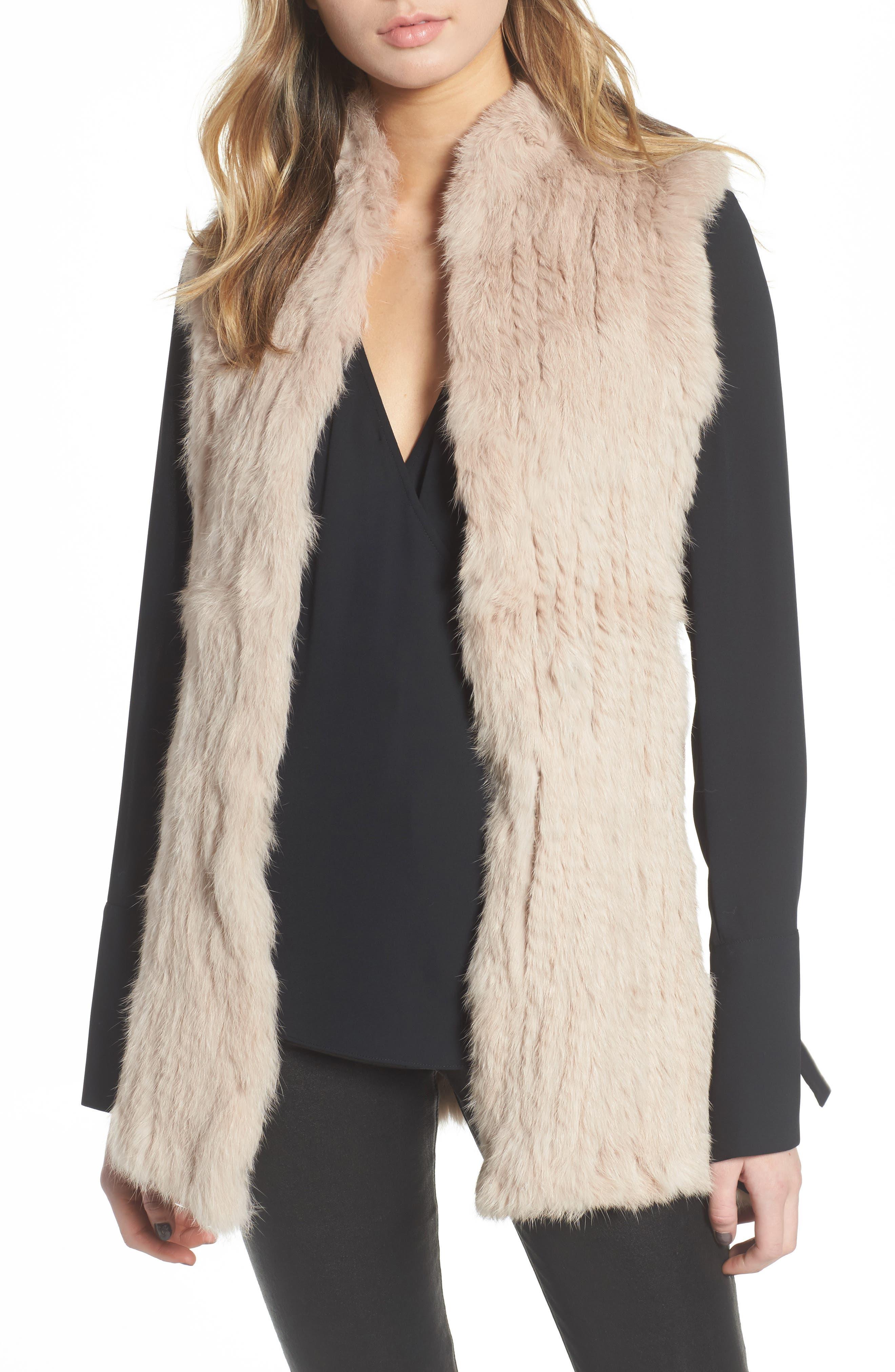 Genuine Rabbit Fur & Knit Vest,                         Main,                         color, Blush