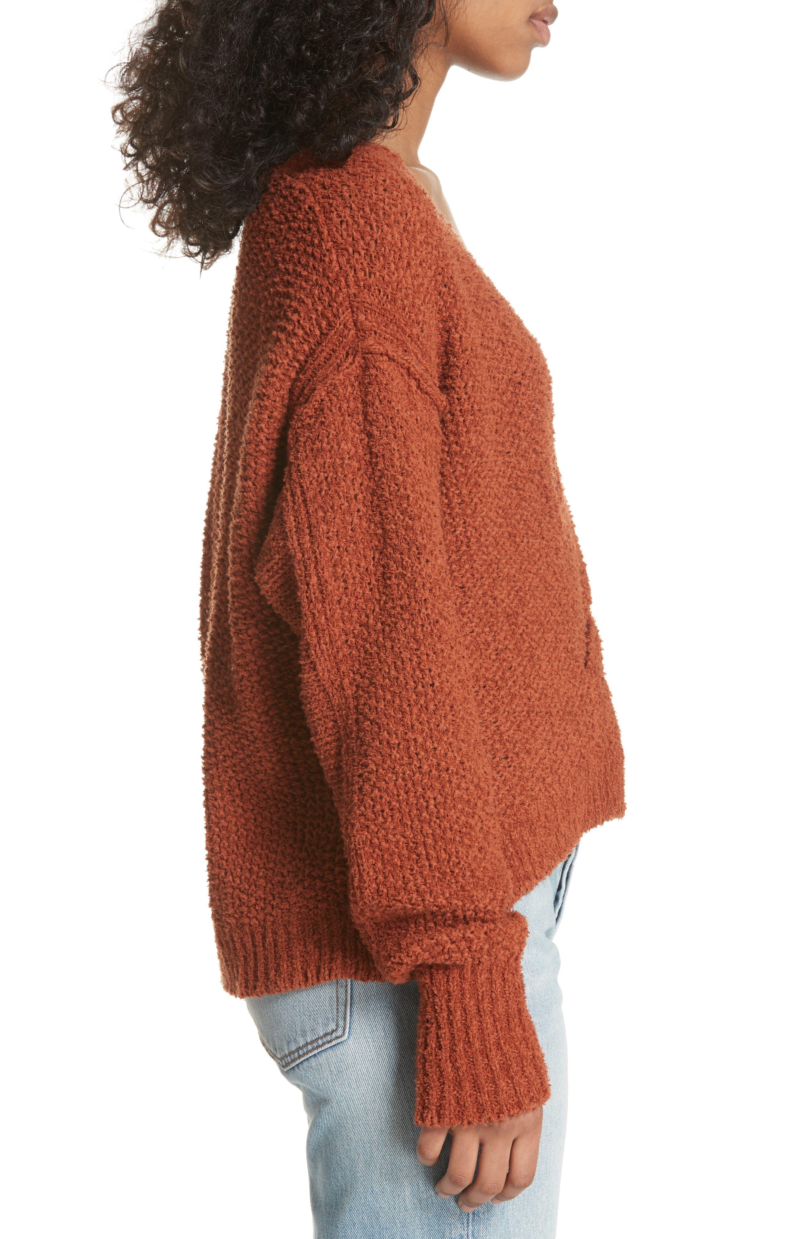 Coco V-Neck Sweater,                             Alternate thumbnail 3, color,                             Terracotta