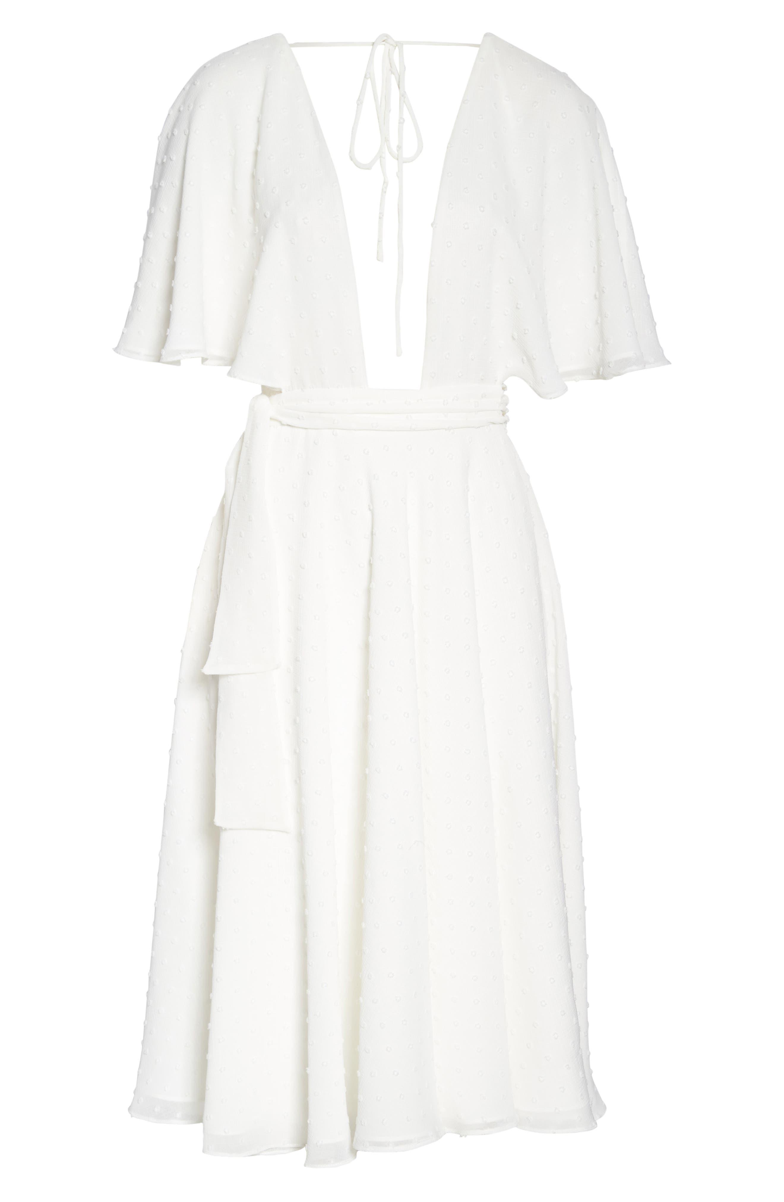 Sylvan Swiss Dot Wrap Dress,                             Alternate thumbnail 5, color,                             Ivory