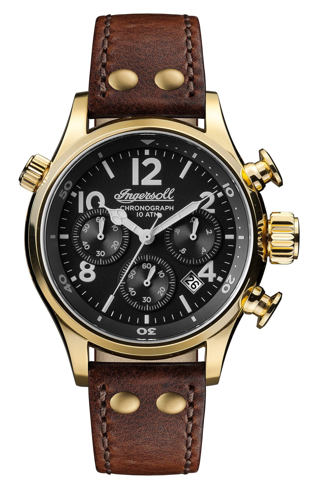 Ingersoll Chronograph Leather Strap Watch, 46mm,                         Main,                         color, Brown/ Black/ Gold