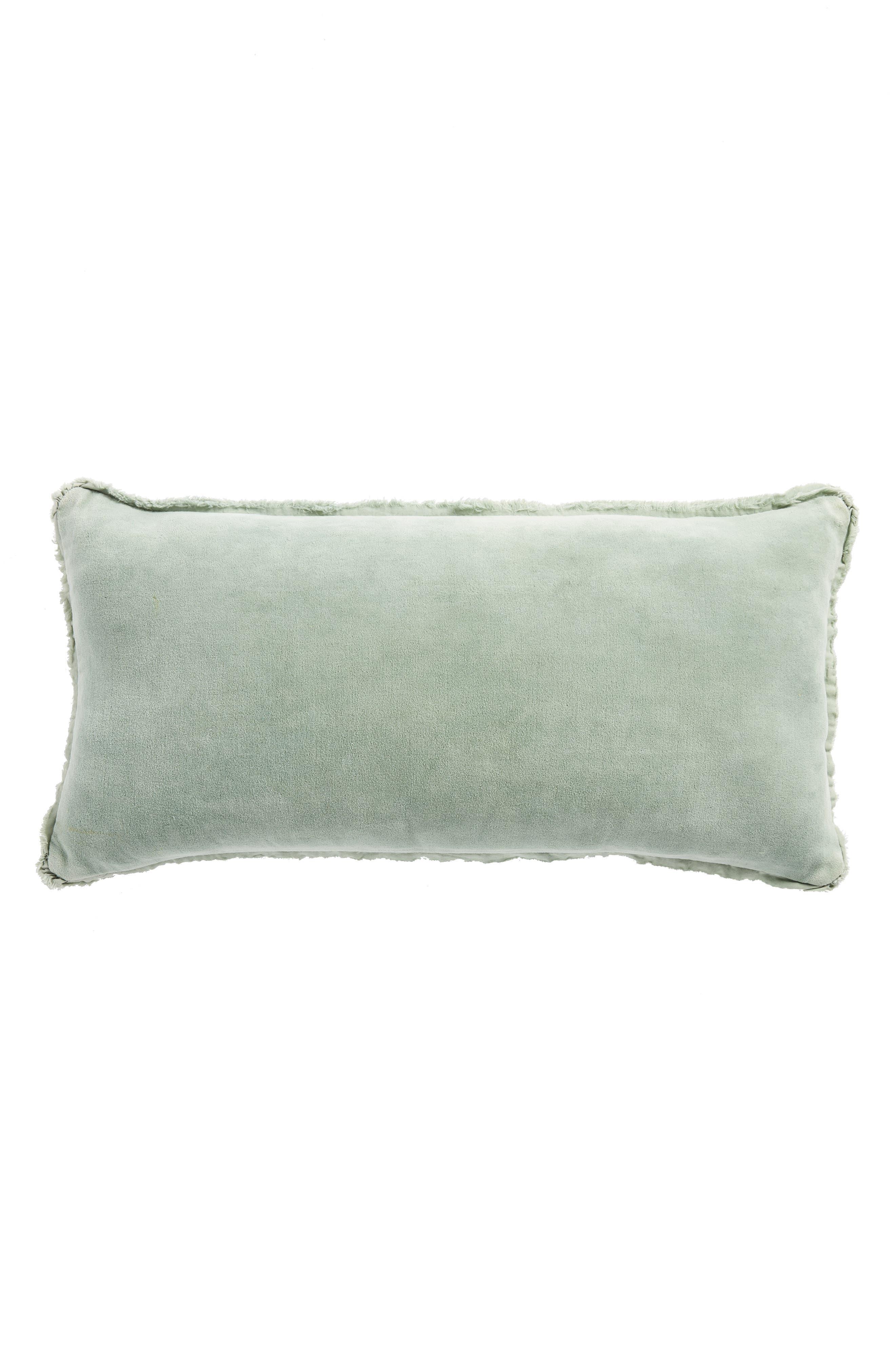 Velvet Accent Pillow,                         Main,                         color, Green Slate