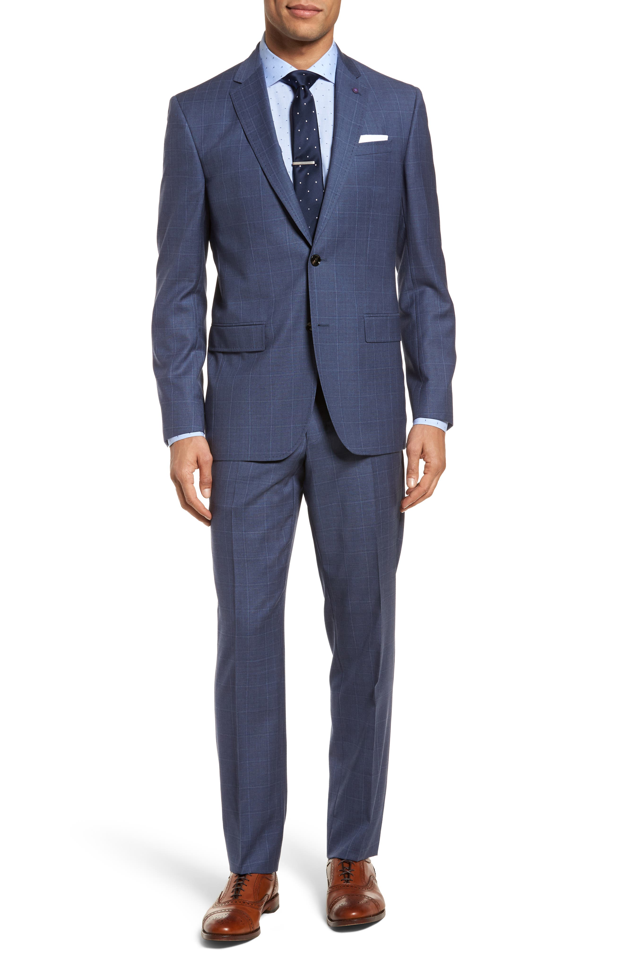Jay Trim Fit Windowpane Wool Suit,                         Main,                         color, Med Blue
