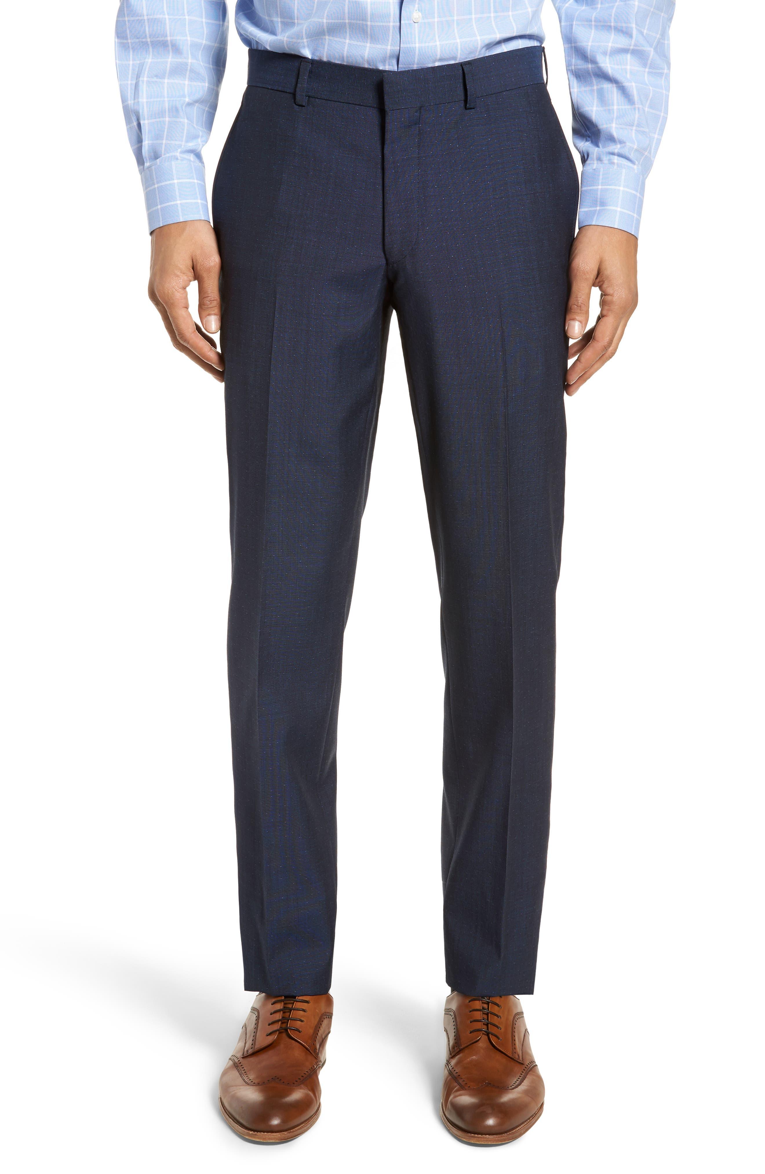 Roger Extra Slim Fit Dot Wool Suit,                             Alternate thumbnail 7, color,                             Dark Blue