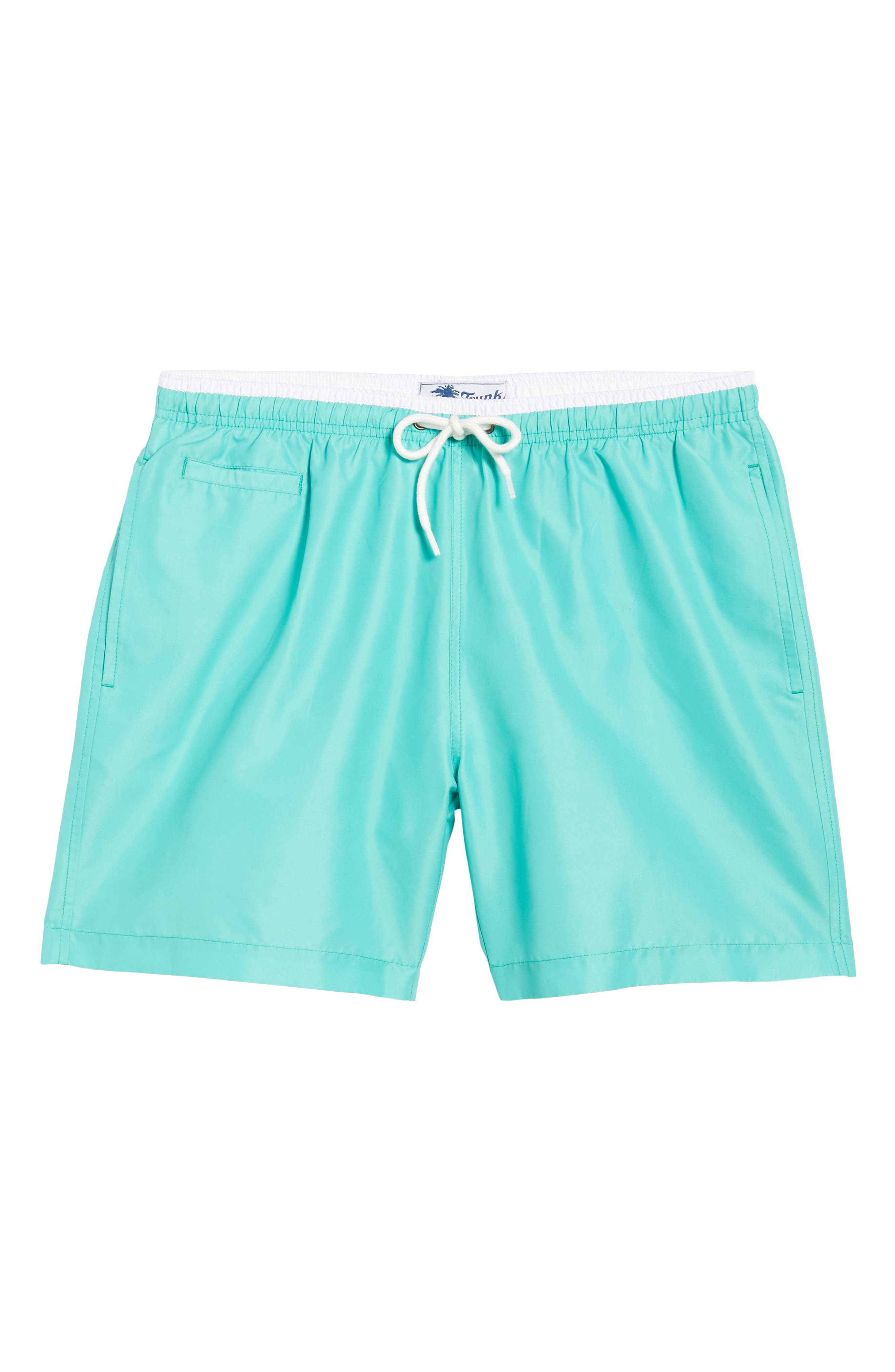 San O Swim Trunks,                             Alternate thumbnail 6, color,                             Sea Green/ White
