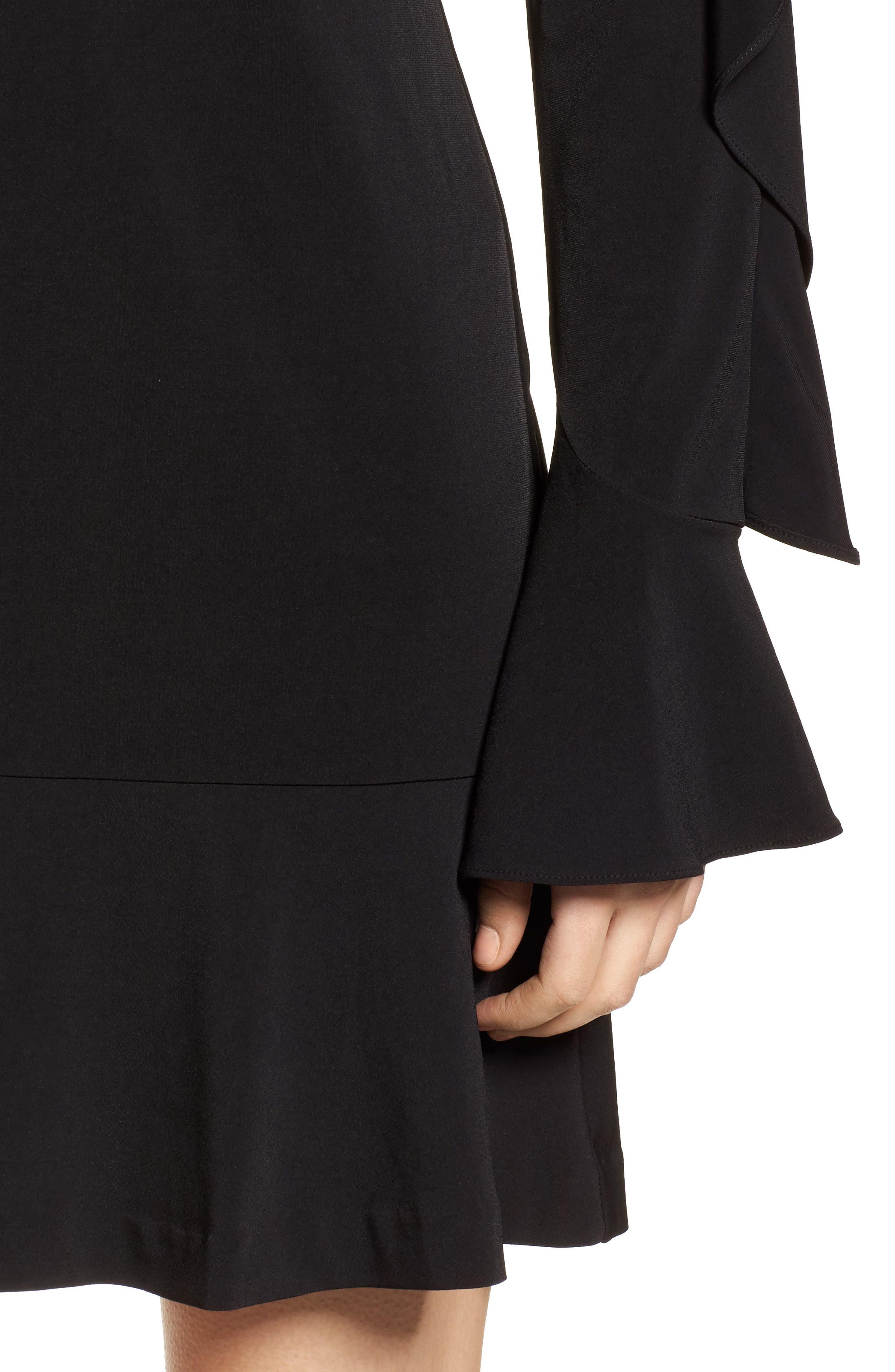 Flounce Panel Long Sleeve Dress,                             Alternate thumbnail 4, color,                             Black