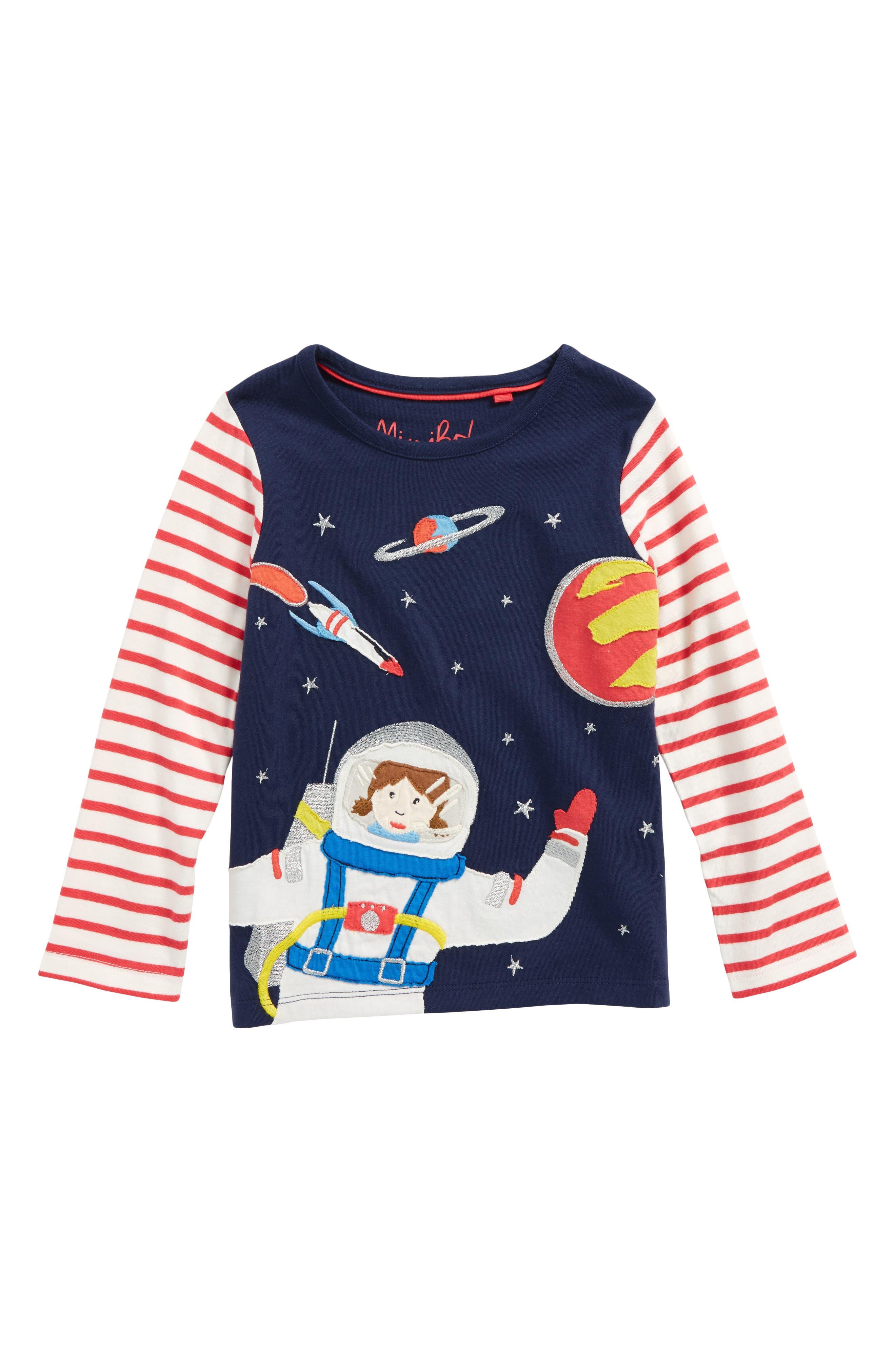 Space Girl Appliqué Tee,                         Main,                         color, School Navy