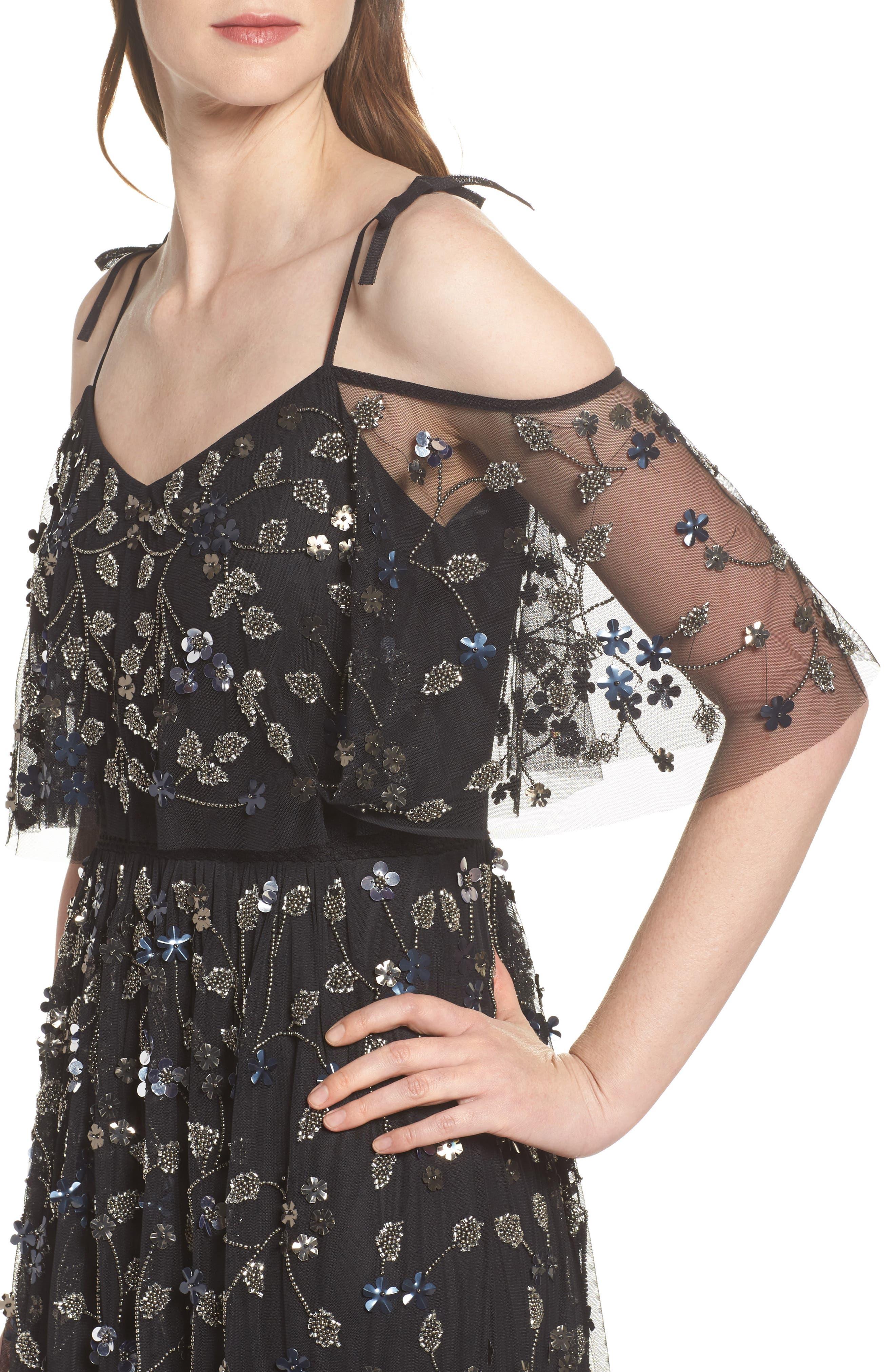 Beaded Cold Shoulder Gown,                             Alternate thumbnail 4, color,                             Black Multi