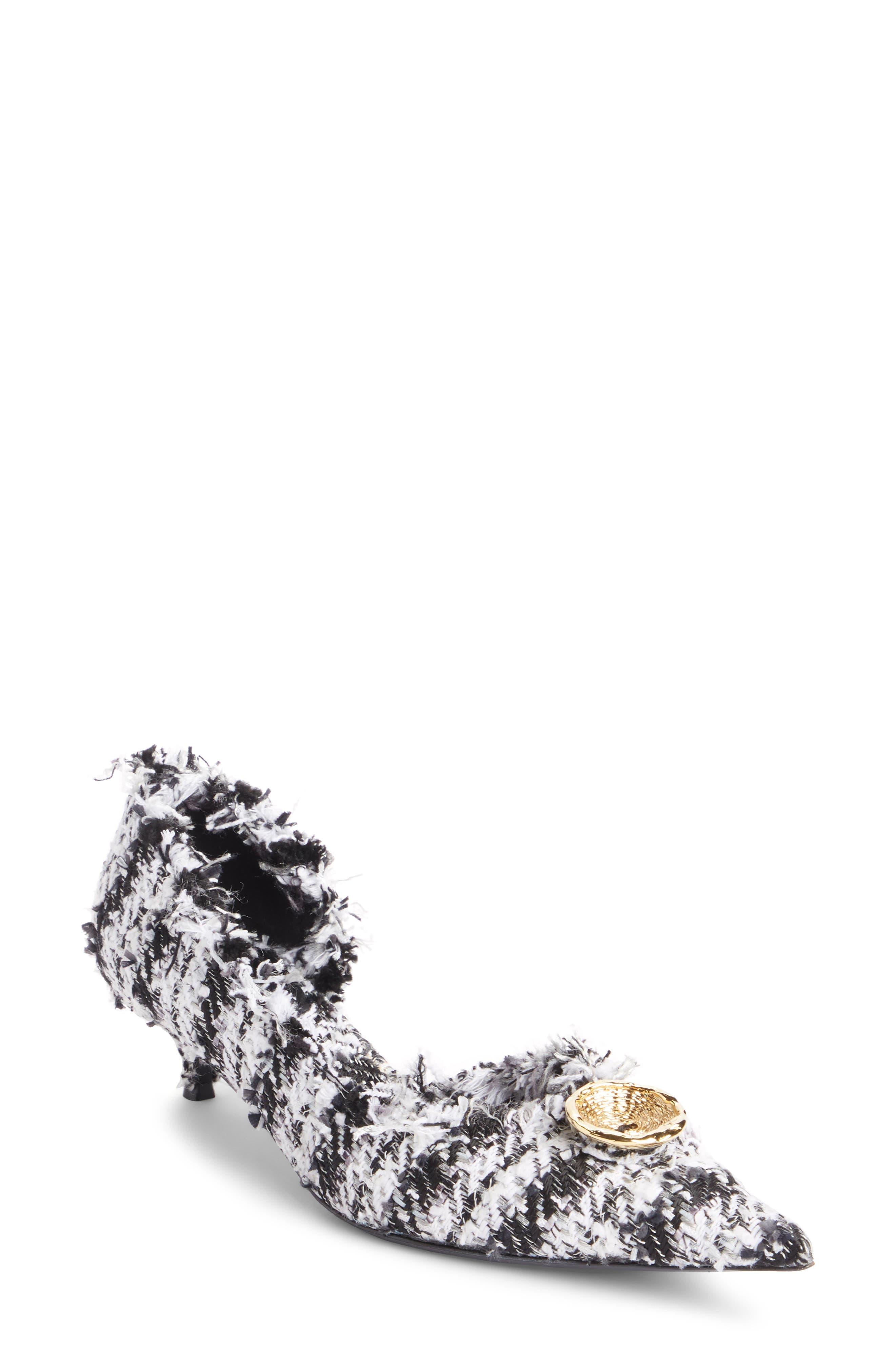 Balenciaga Tweed Pointy Toe Half d'Orsay Pump (Women)