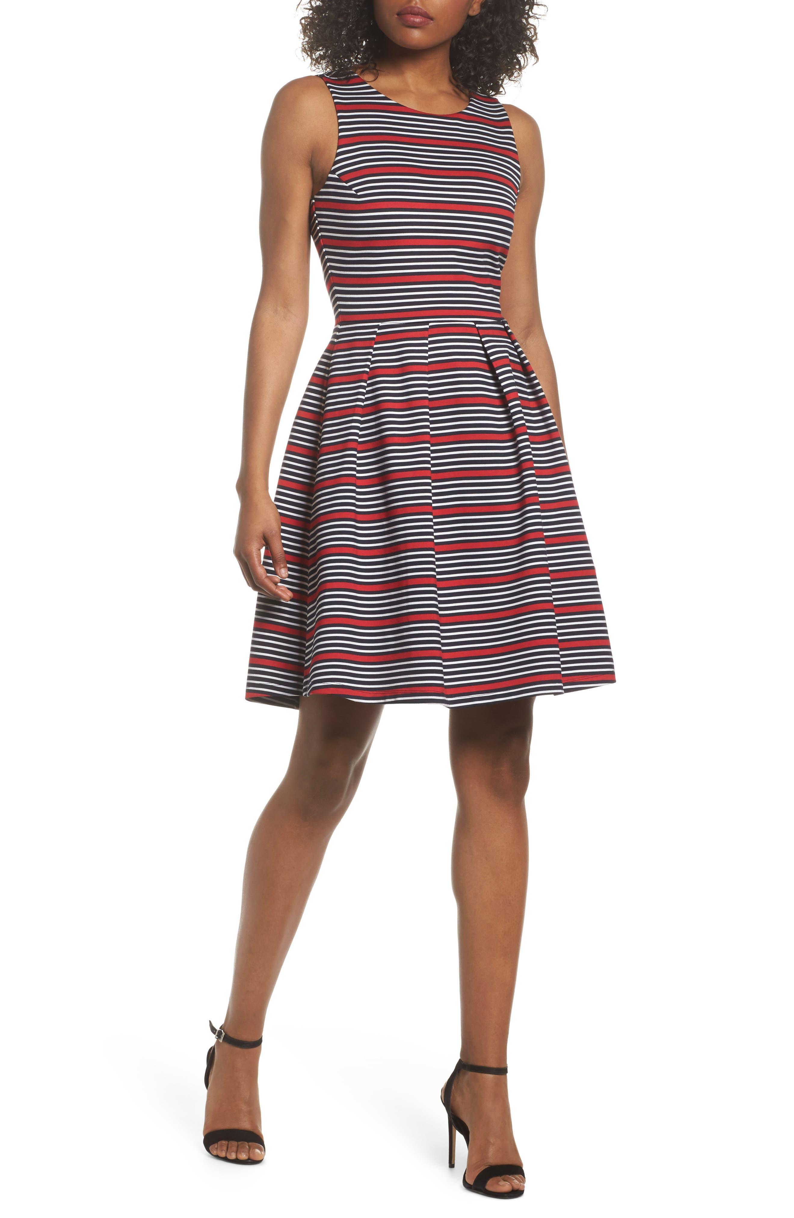Scarlette Stripe Fit & Flare Dress,                             Main thumbnail 1, color,                             Navy/ Red/ White Stripe