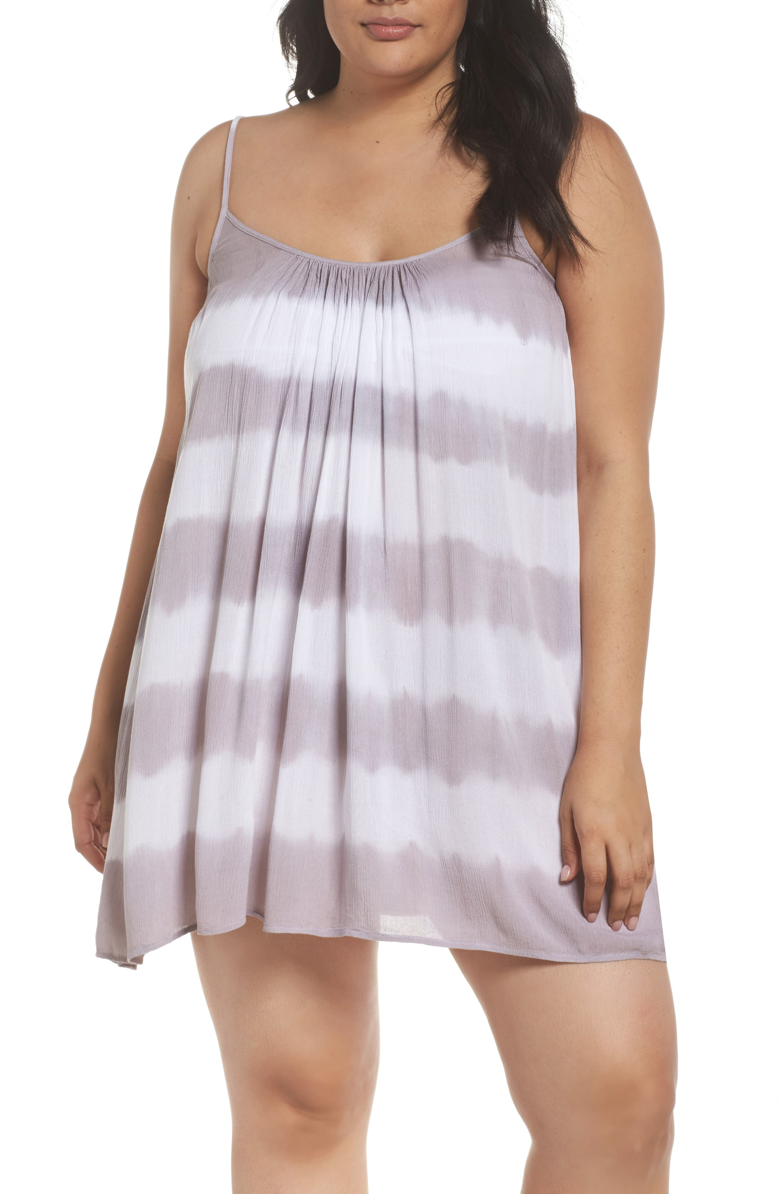 Cover-Up Dress,                             Main thumbnail 1, color,                             Grey/White Stripe