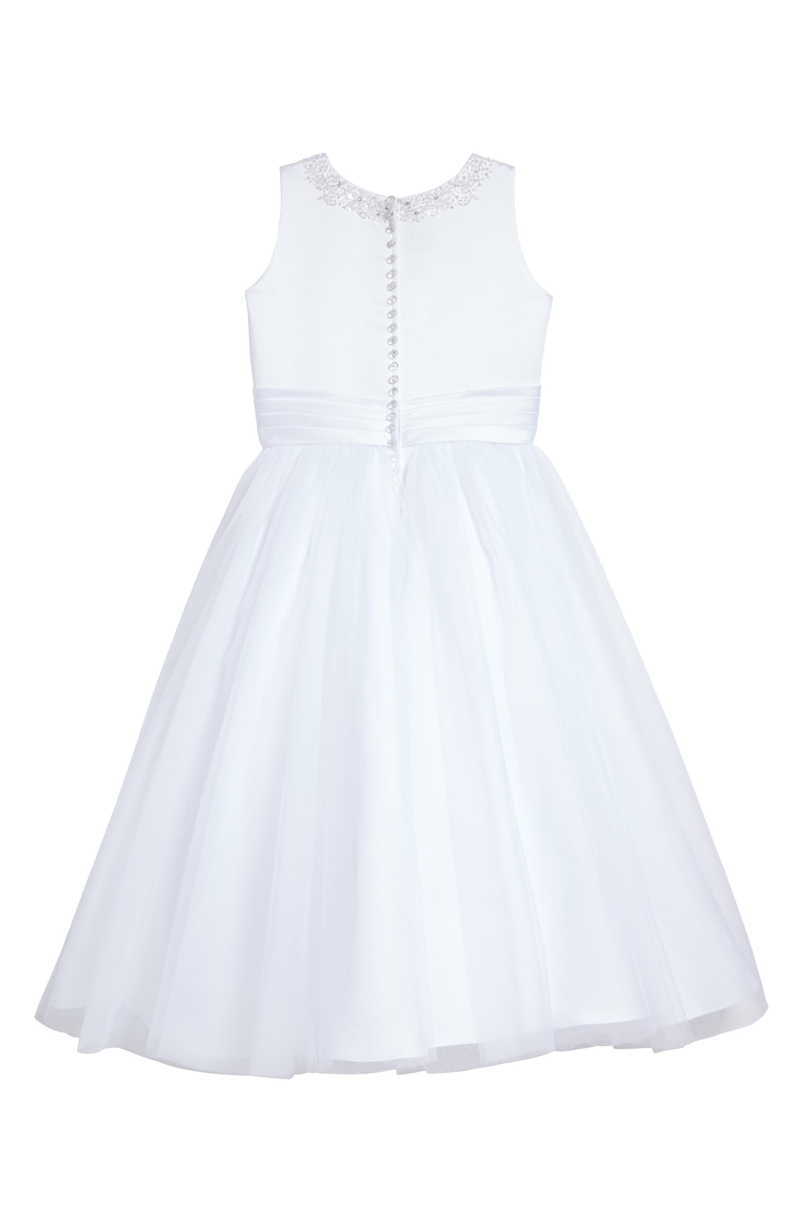 Alternate Image 2  - Joan Calabrese for Mon Cheri Beaded Satin & Tulle First Communion Dress (Toddler Girls, Little Girls & Big Girls)