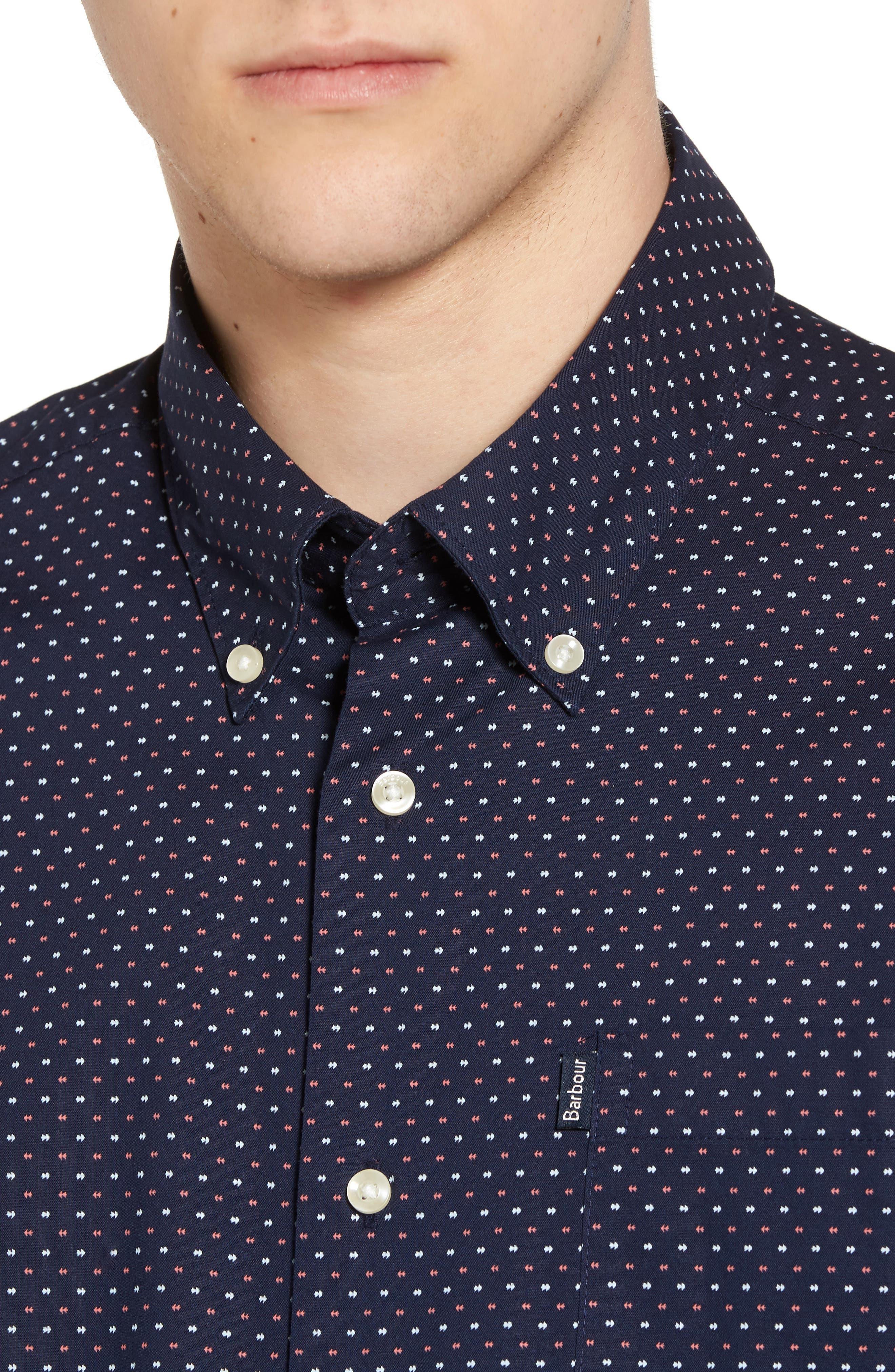 Cullen Trim Fit Print Sport Shirt,                             Alternate thumbnail 4, color,                             Navy