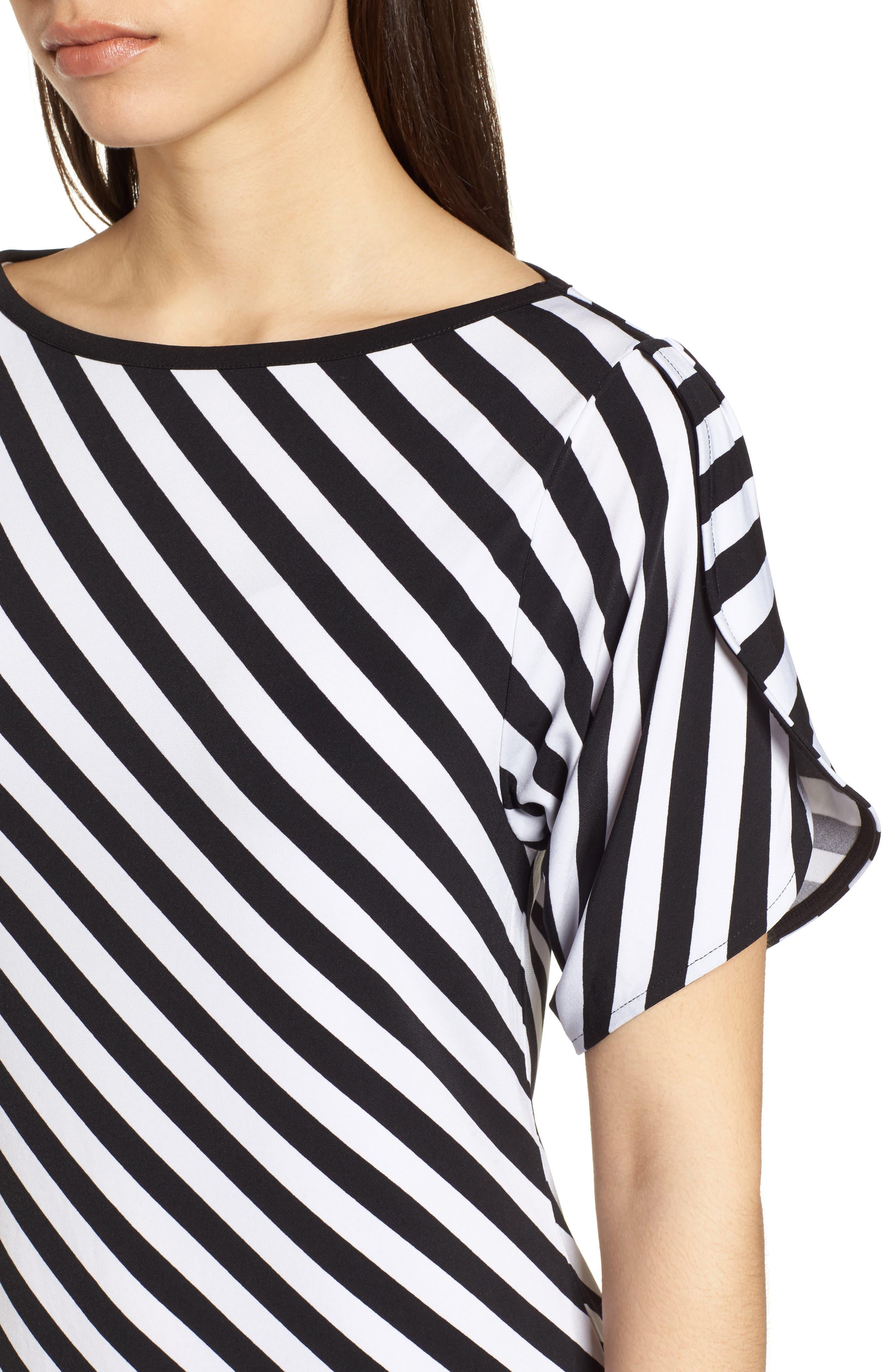 Tulip Sleeve Stripe Dress,                             Alternate thumbnail 4, color,                             Black/ White