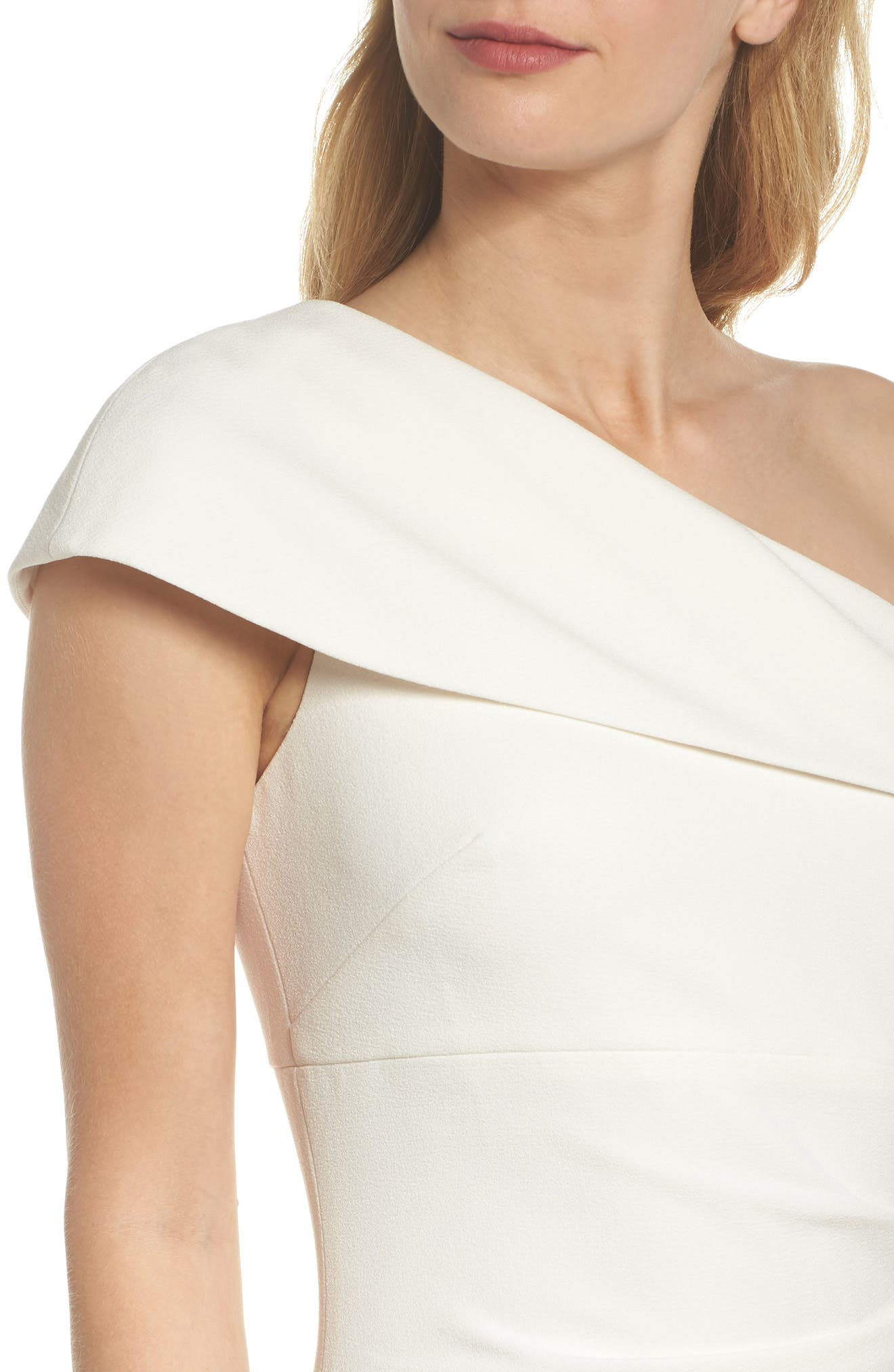 One-Shoulder Crepe Gown,                             Alternate thumbnail 4, color,                             Ivory
