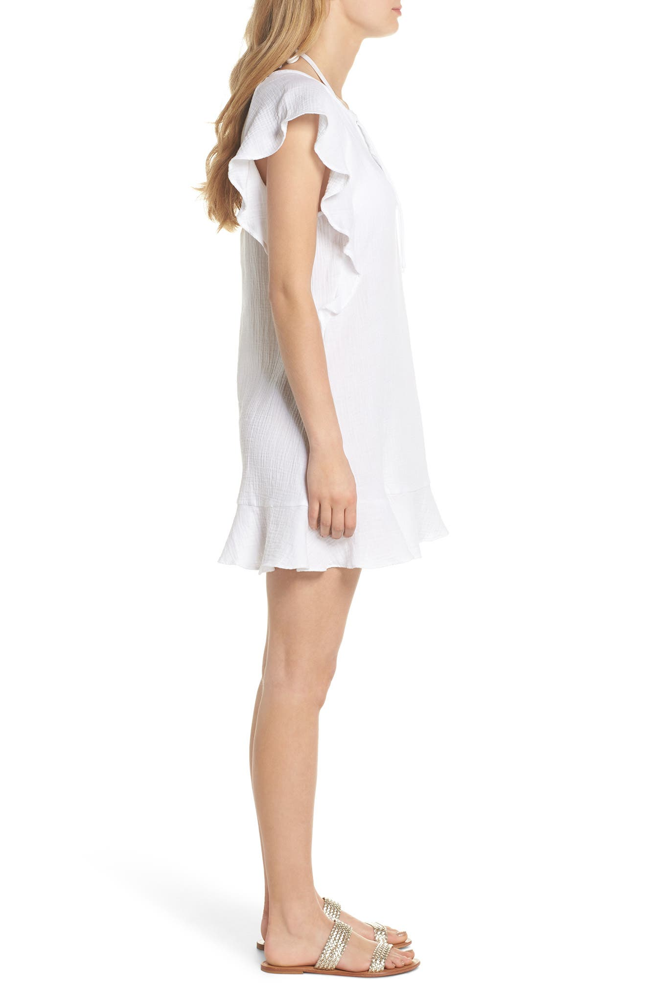 Fia Cover-Up Dress,                             Alternate thumbnail 3, color,                             White