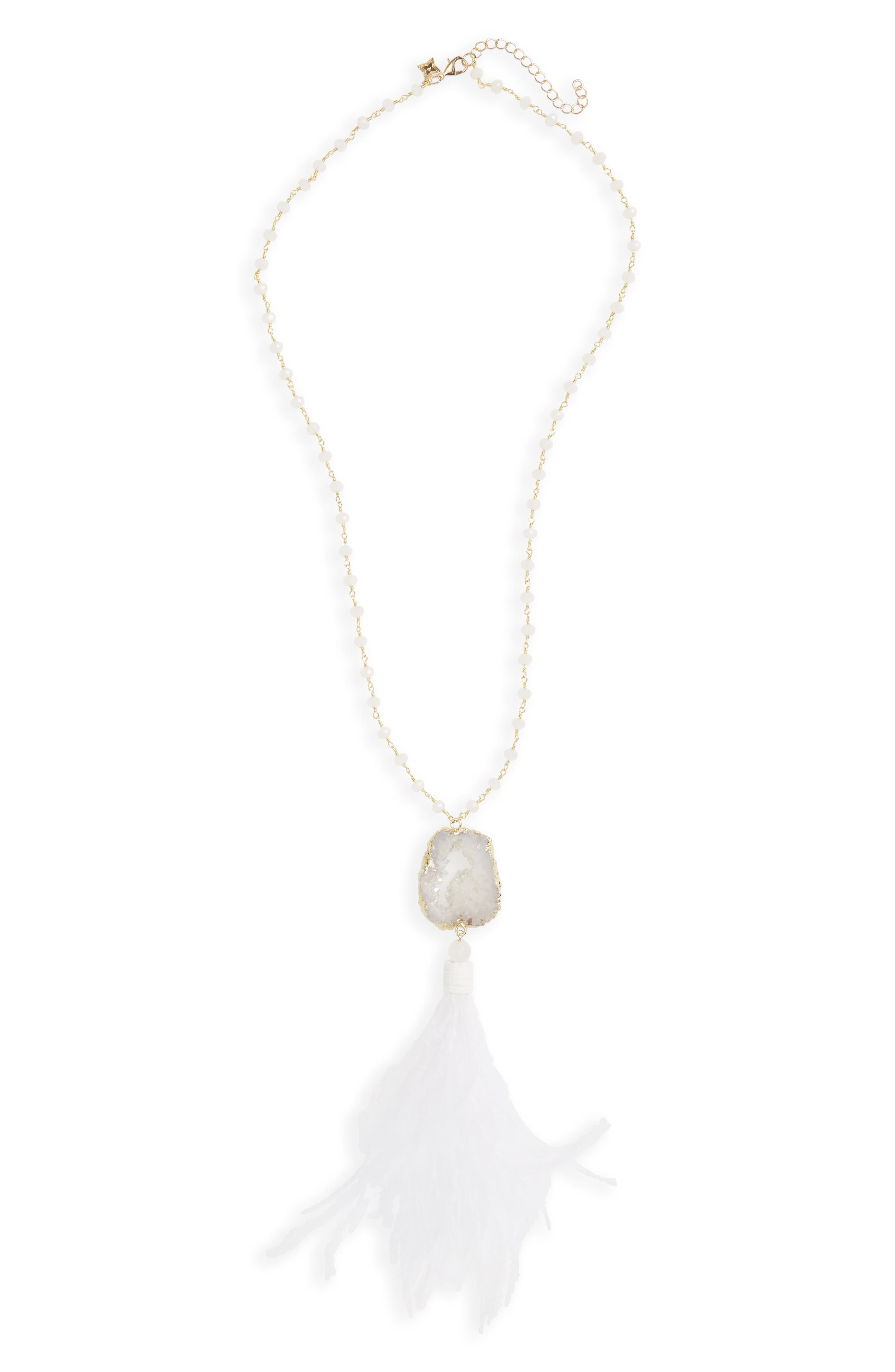 Feather & Drusy Pendant Necklace,                         Main,                         color, White