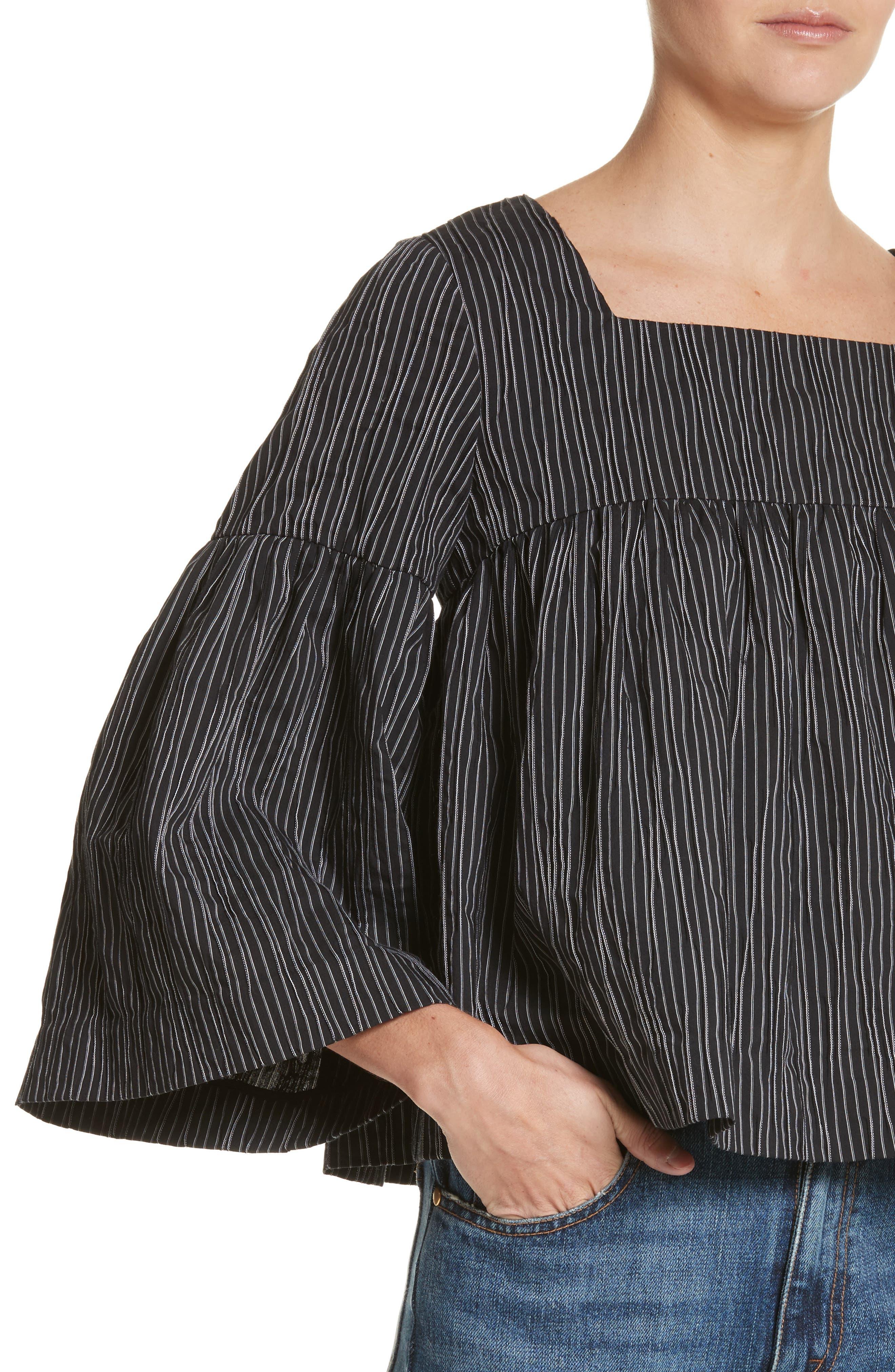 Stripe Crinkle Cotton Blend Swing Top,                             Alternate thumbnail 4, color,                             Black/ White Stripe