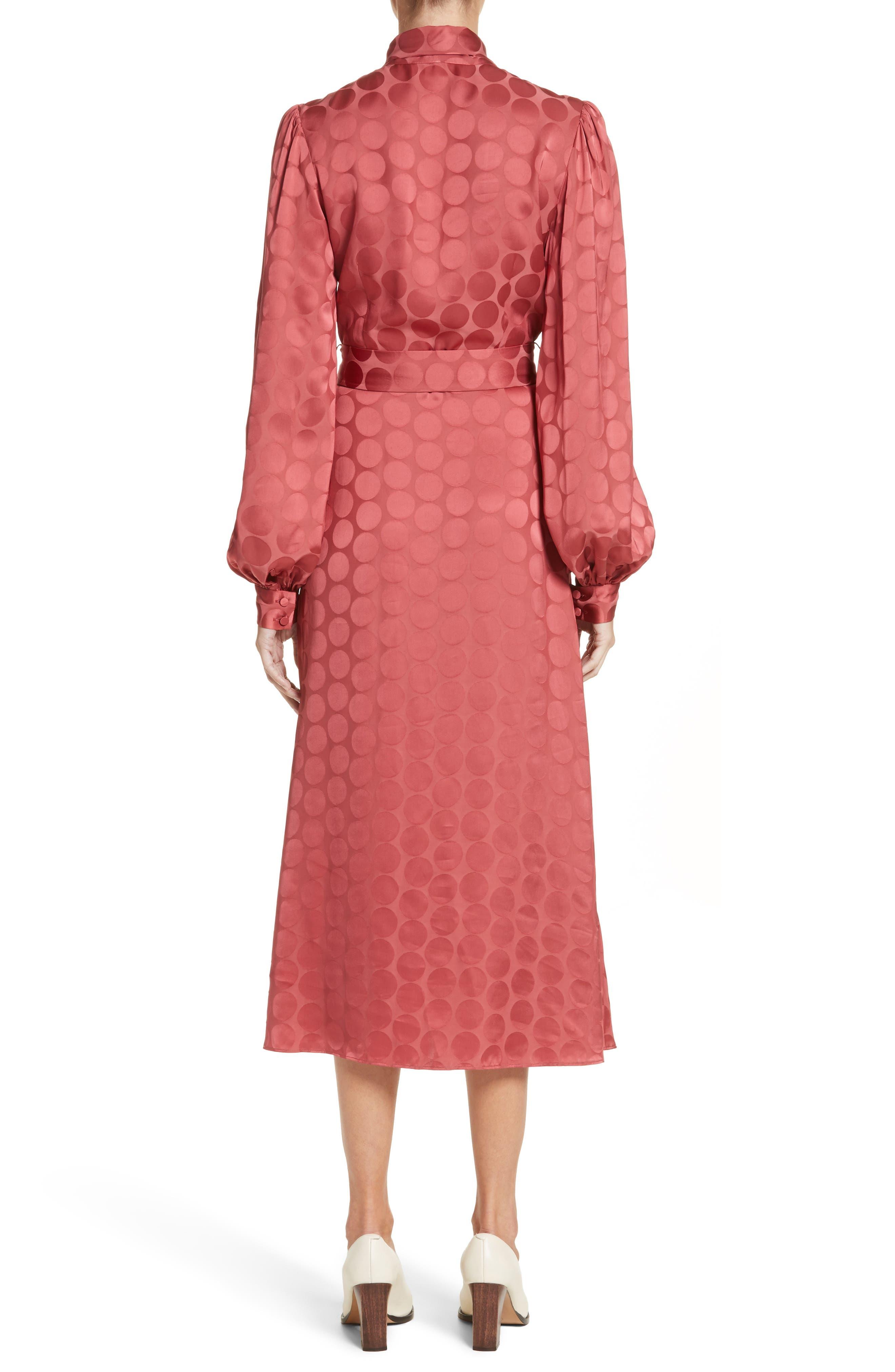 Tonal Dot Tie Neck Midi Dress,                             Alternate thumbnail 2, color,                             Coral