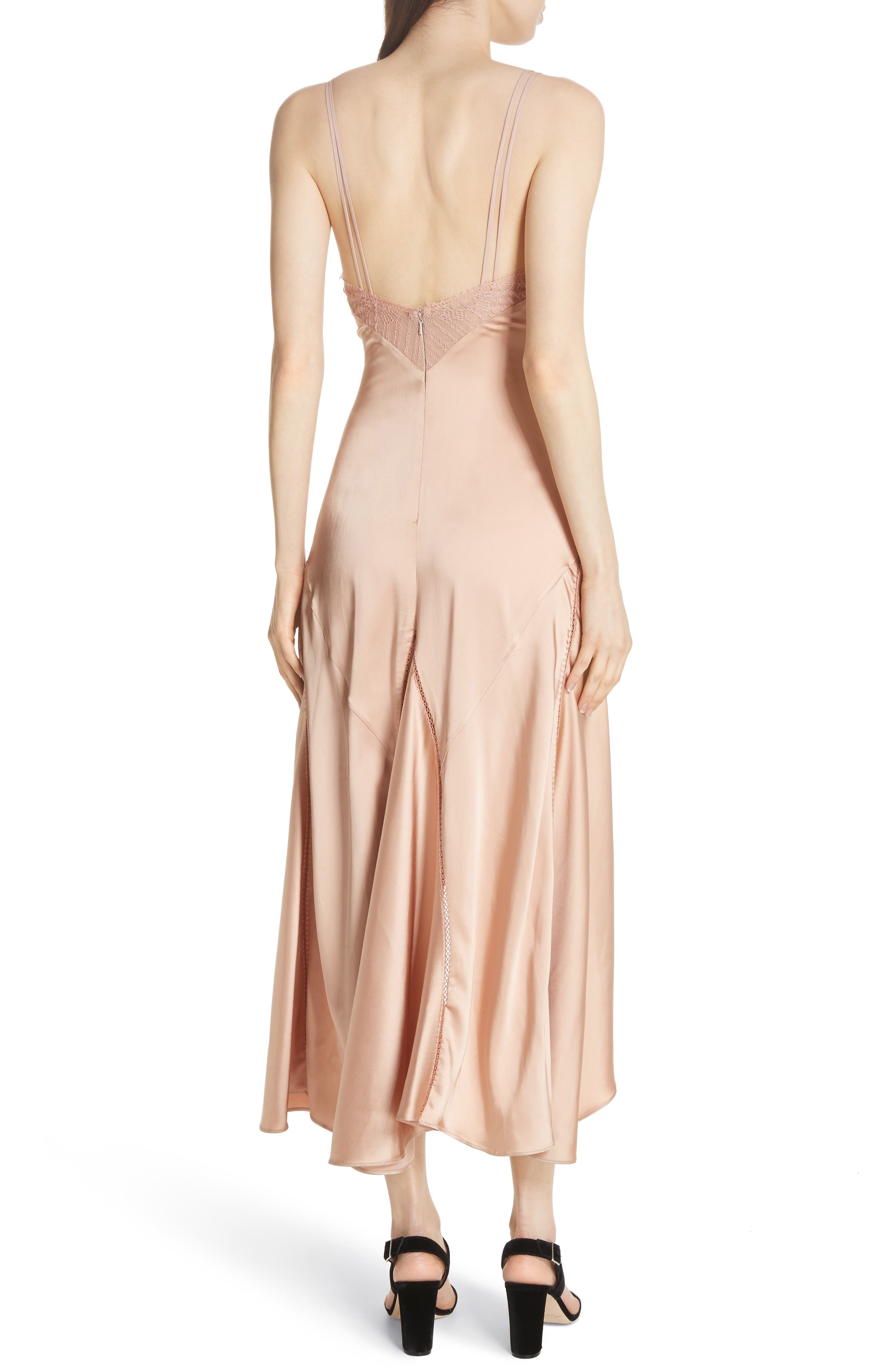 Mixed Trim Satin Handkerchief Dress,                             Alternate thumbnail 4, color,                             Bronze