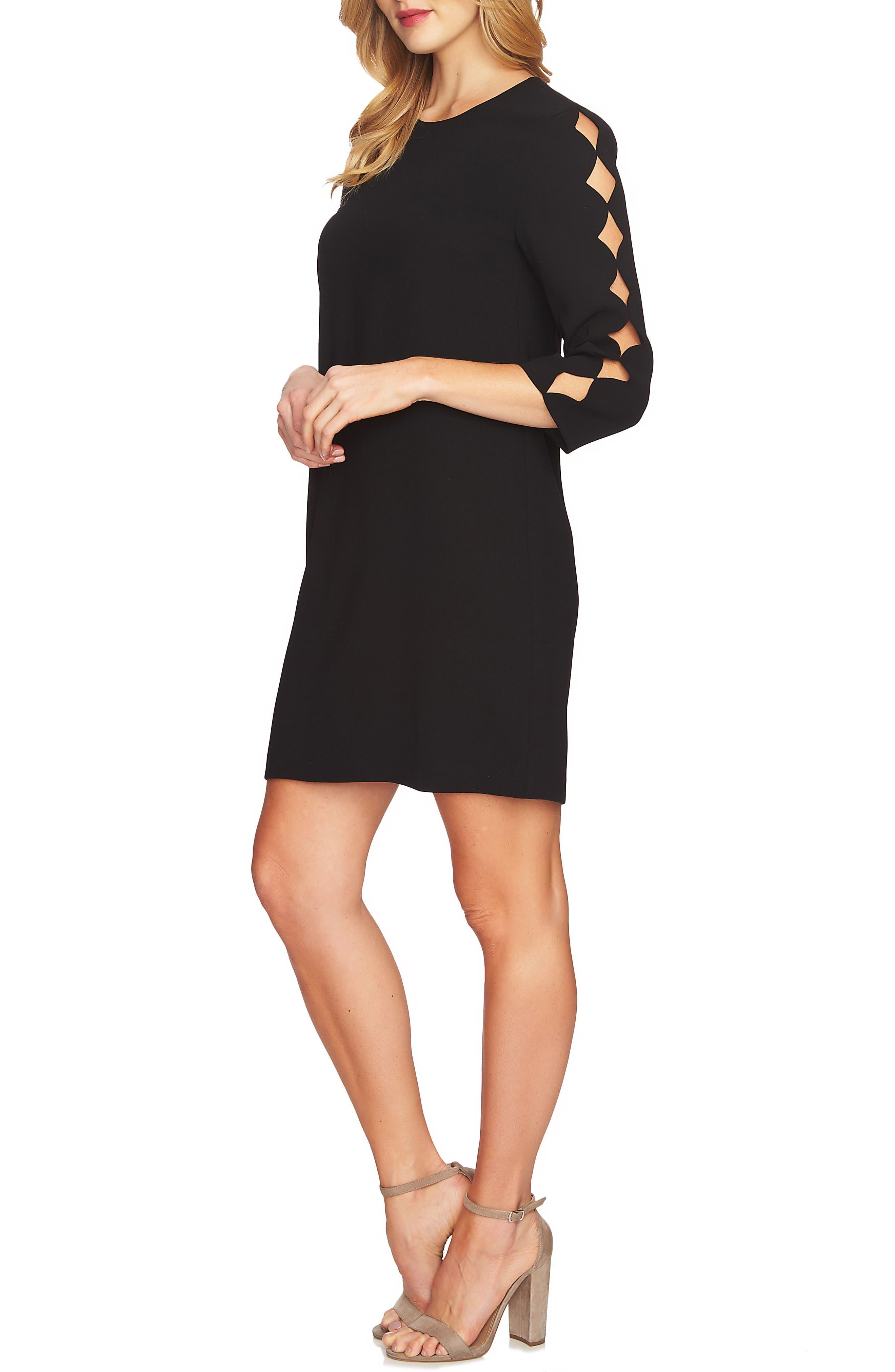 Cutout Sleeve Shift Dress,                             Alternate thumbnail 3, color,                             Rich Black