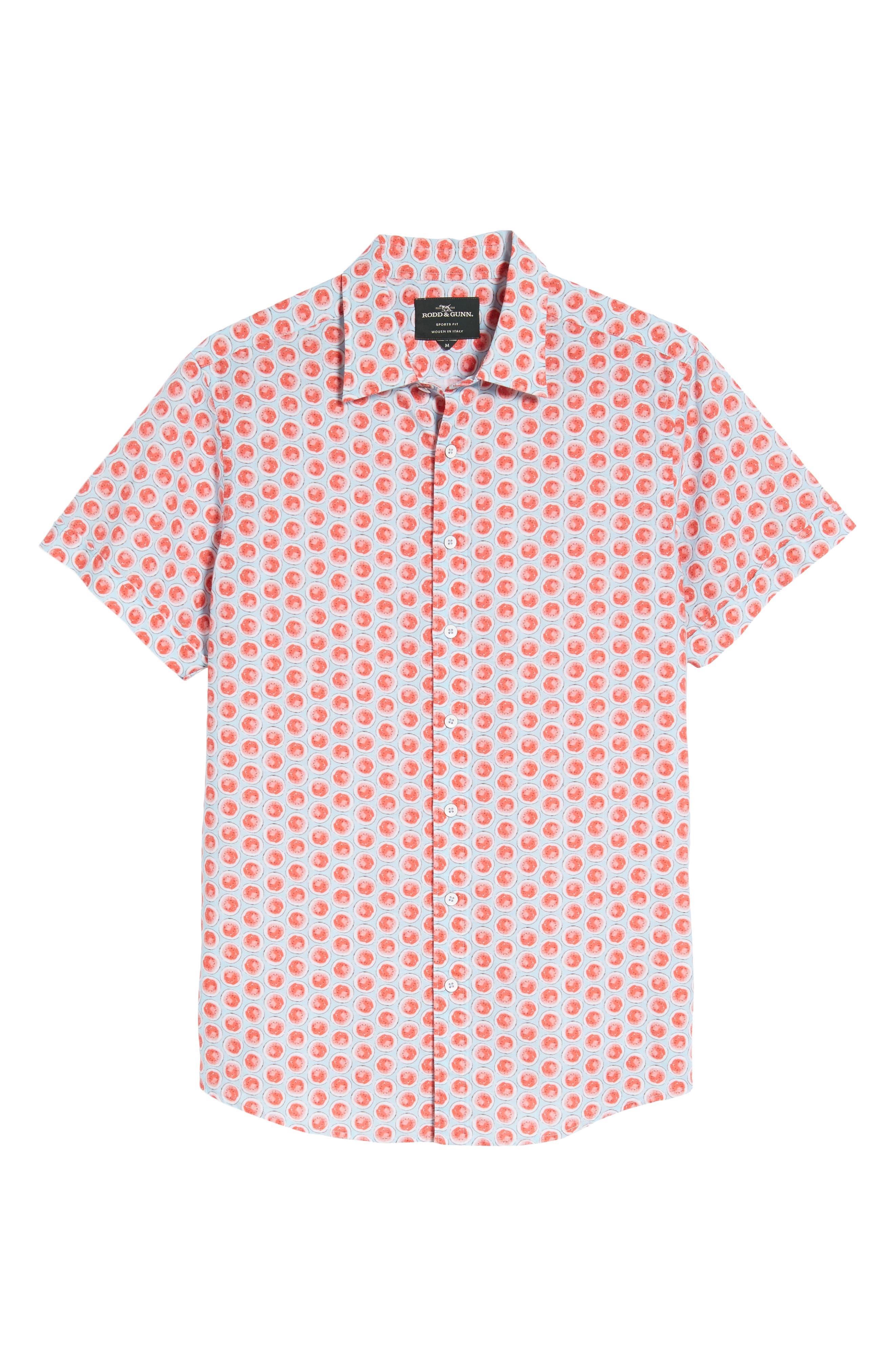 Mellons Bay Regular Fit Sport Shirt,                             Alternate thumbnail 6, color,                             Watermelon