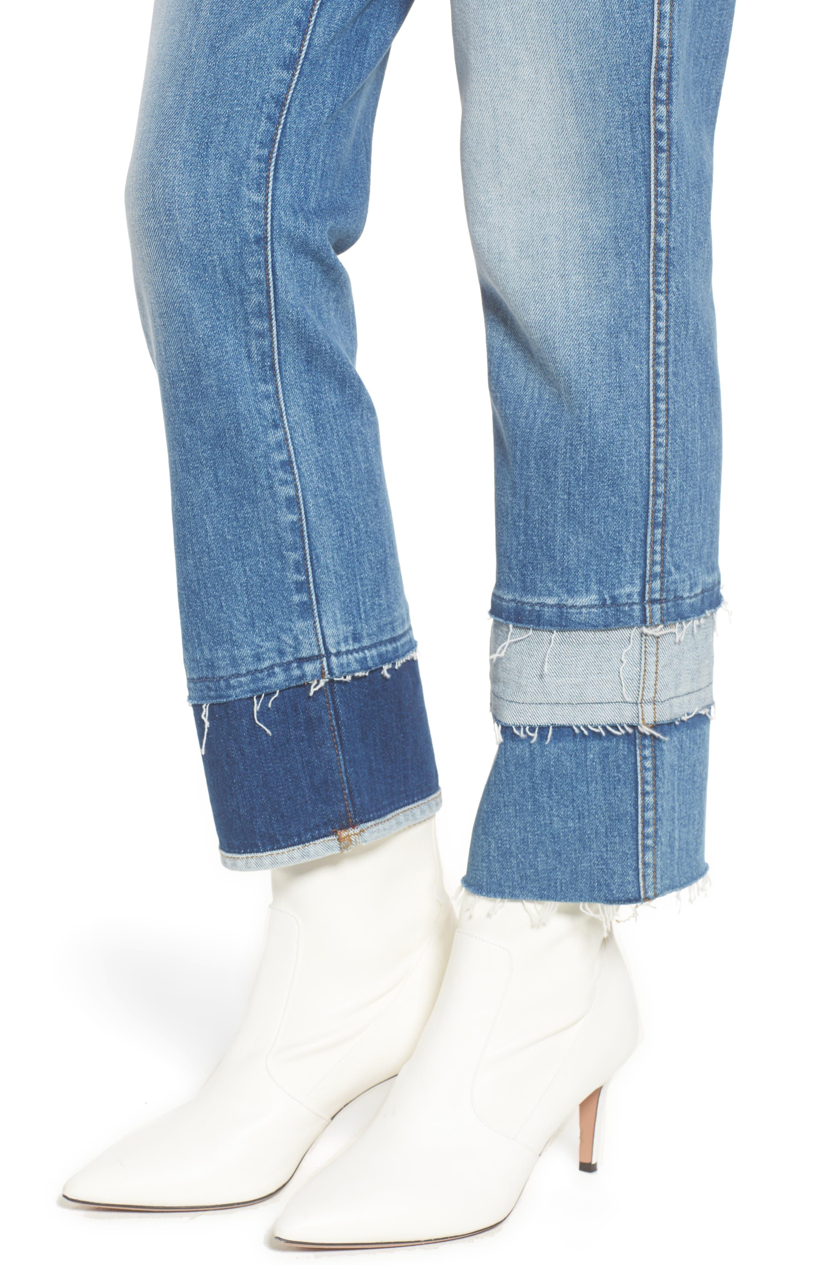 Edie Pieced Hem Cropped Jeans,                             Alternate thumbnail 4, color,                             Vintage Blue Dunes 2