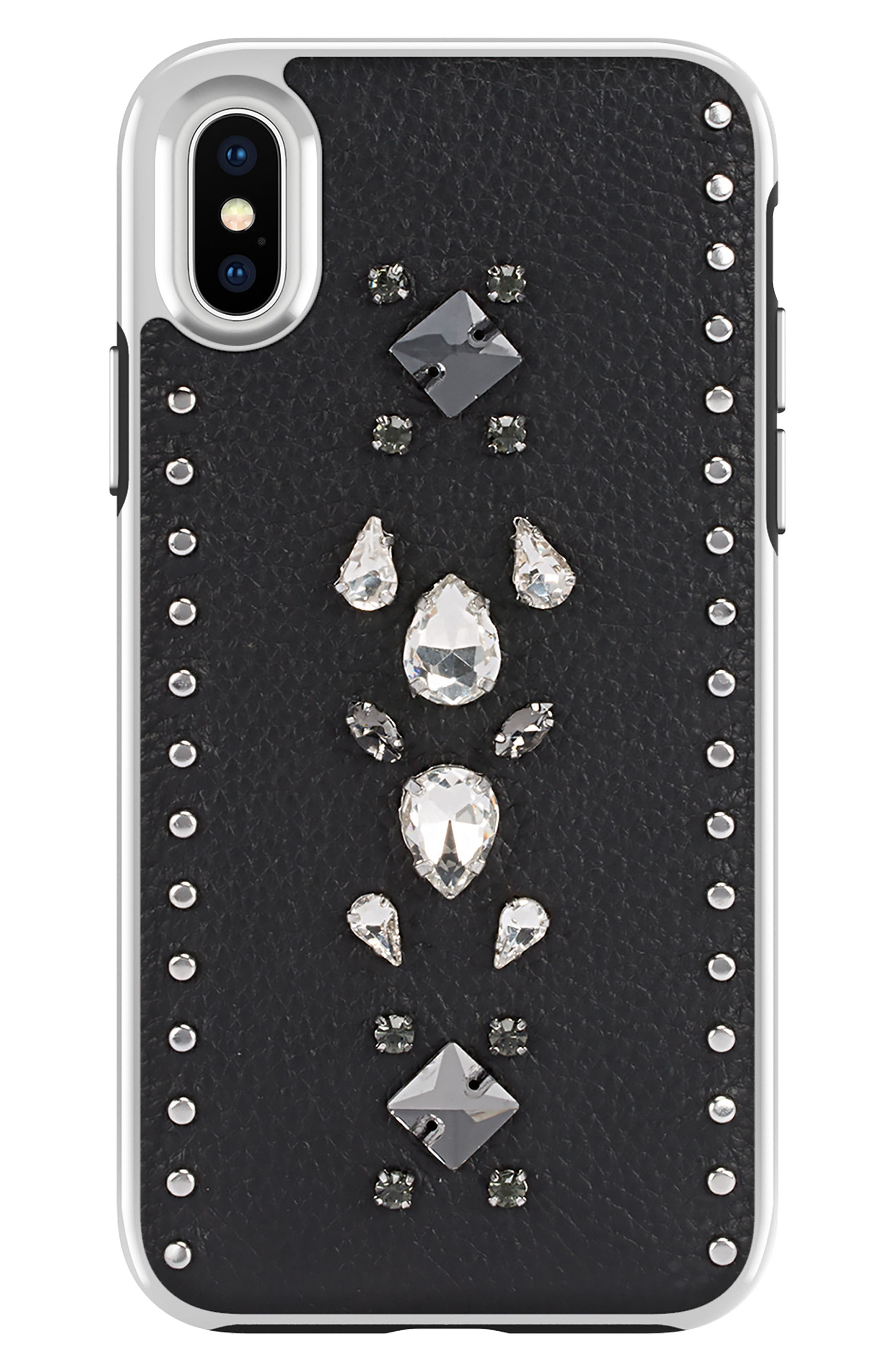Inlay Jem Leather iPhone X Case,                             Main thumbnail 1, color,                             Multi Gems/ Studs/ Black