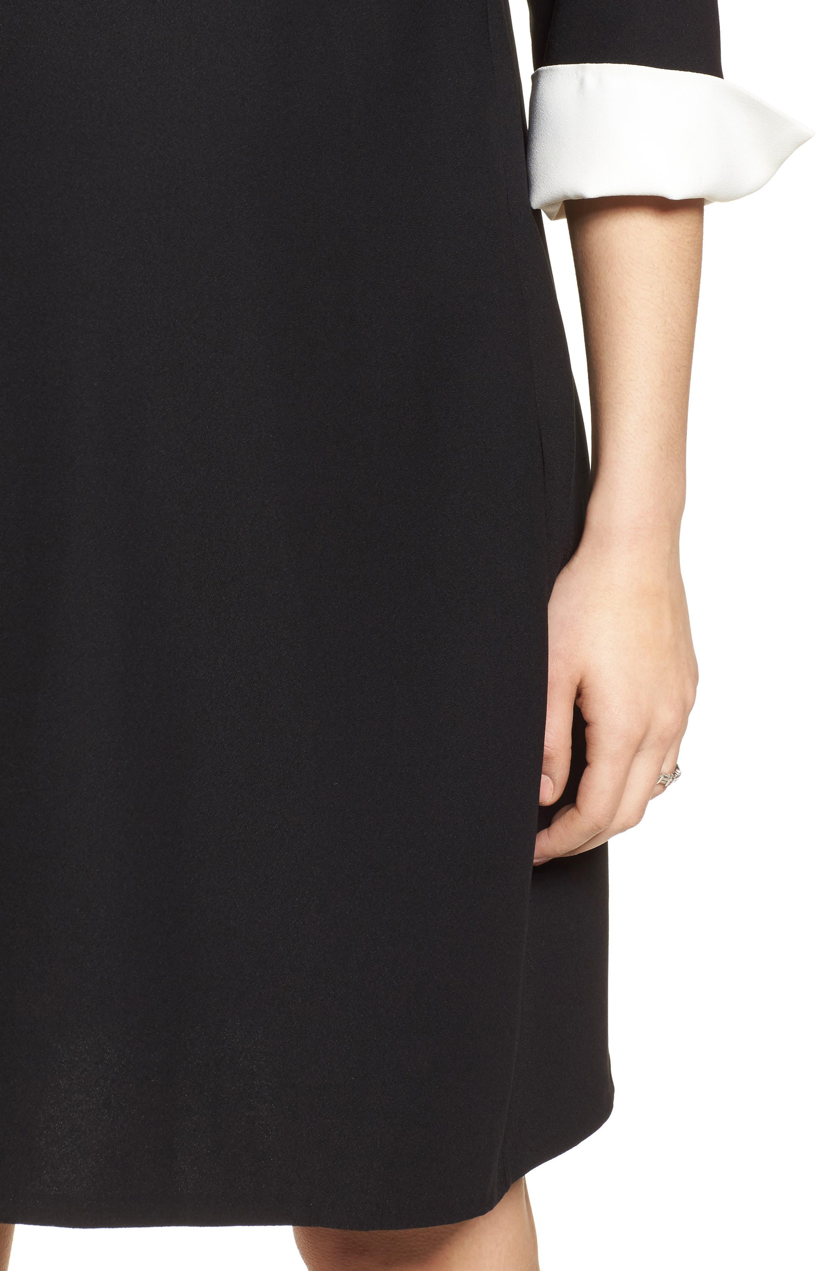 Rosa Maternity Dress,                             Alternate thumbnail 4, color,                             Caviar Black