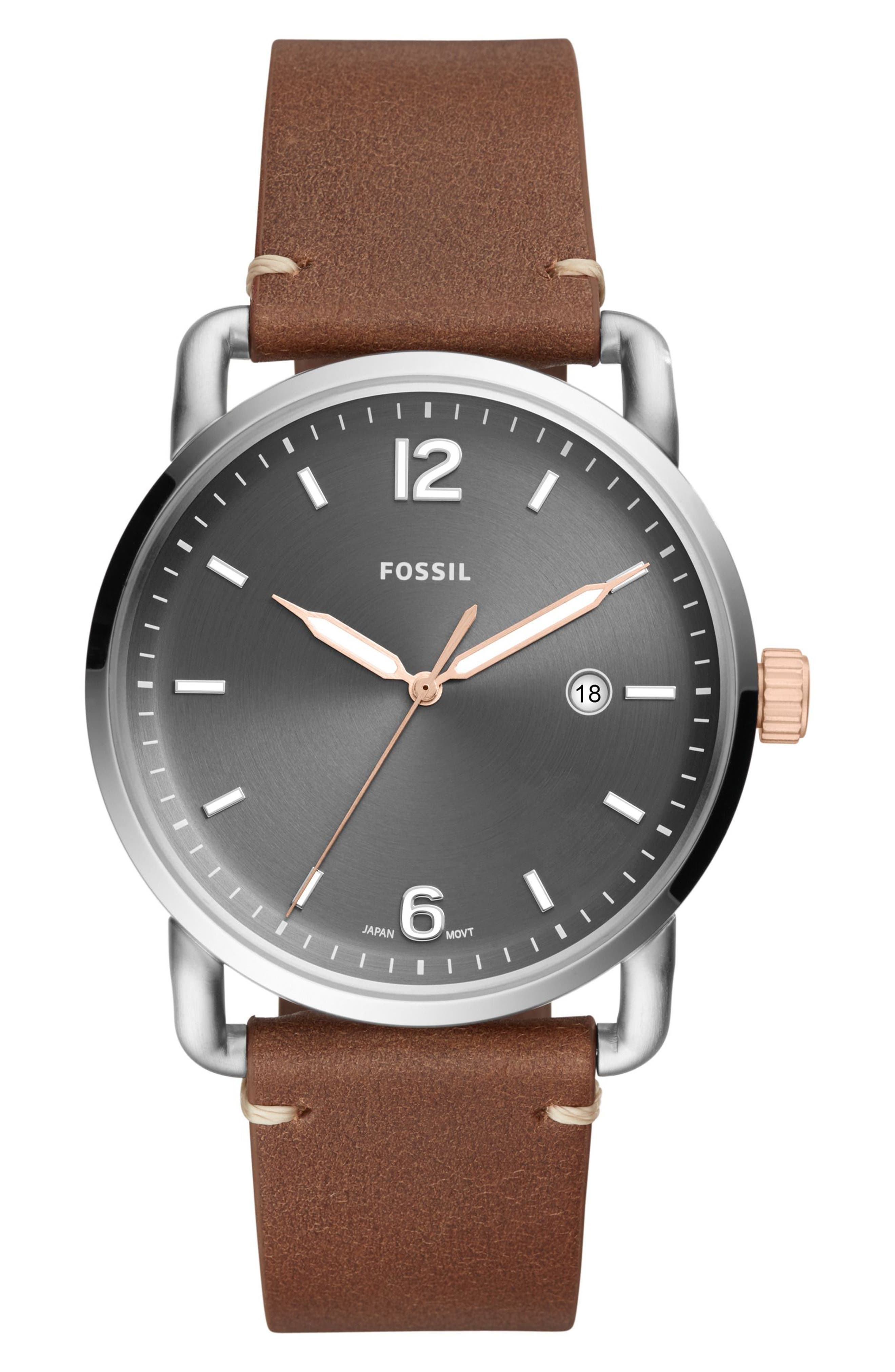 Commuter Leather Strap Watch, 42mm,                             Main thumbnail 1, color,                             Brown/ Grey/ Silver