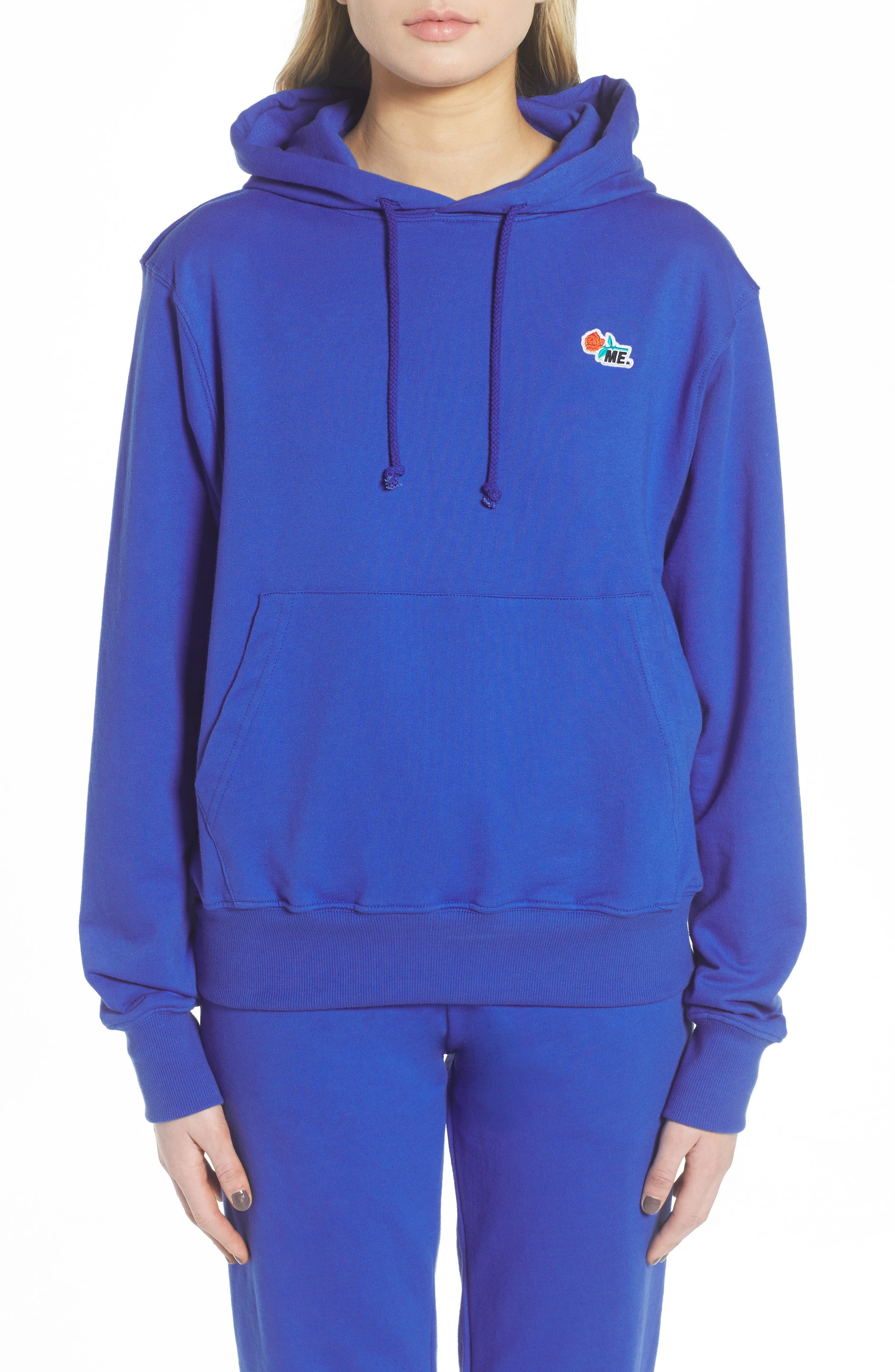ME. Rose Pullover Hoodie,                         Main,                         color, Royal Blue